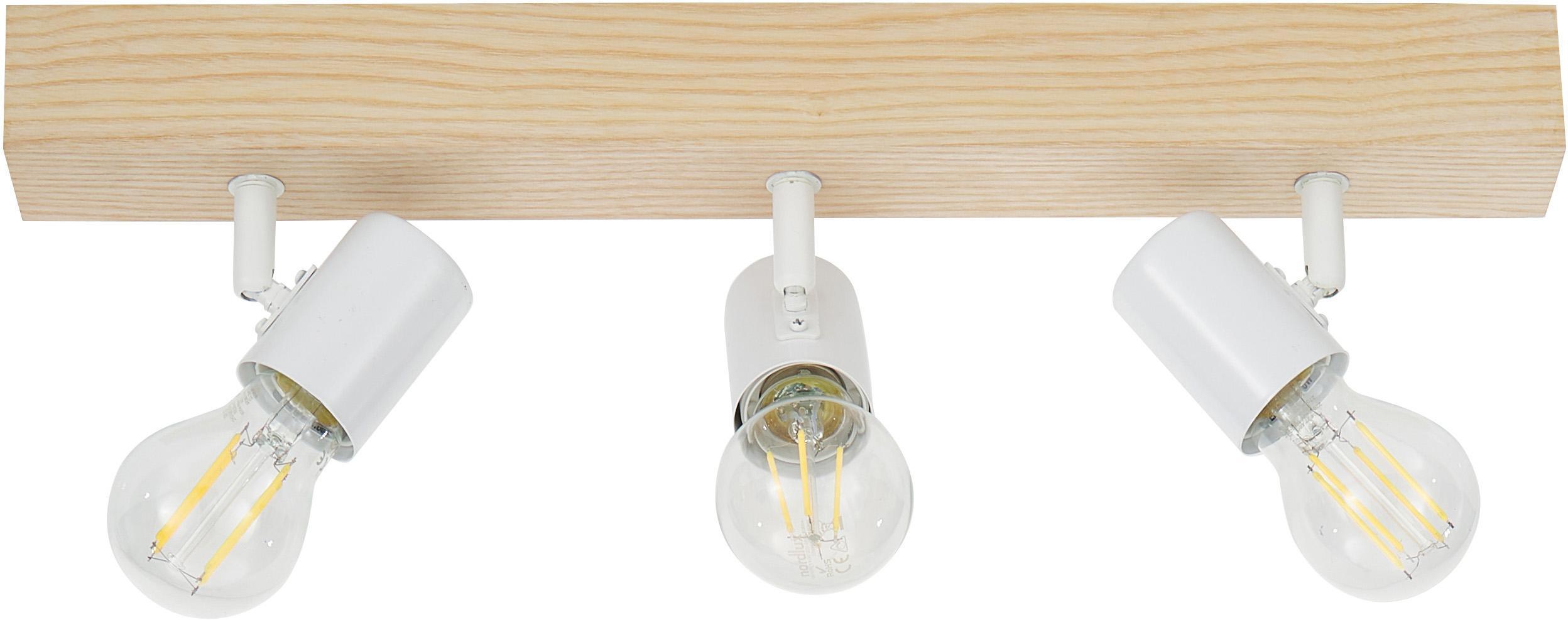 Faretti da soffitto Townshend, Acciaio rivestito, legno, Bianco, legno, Larg. 48 x Alt. 13 cm