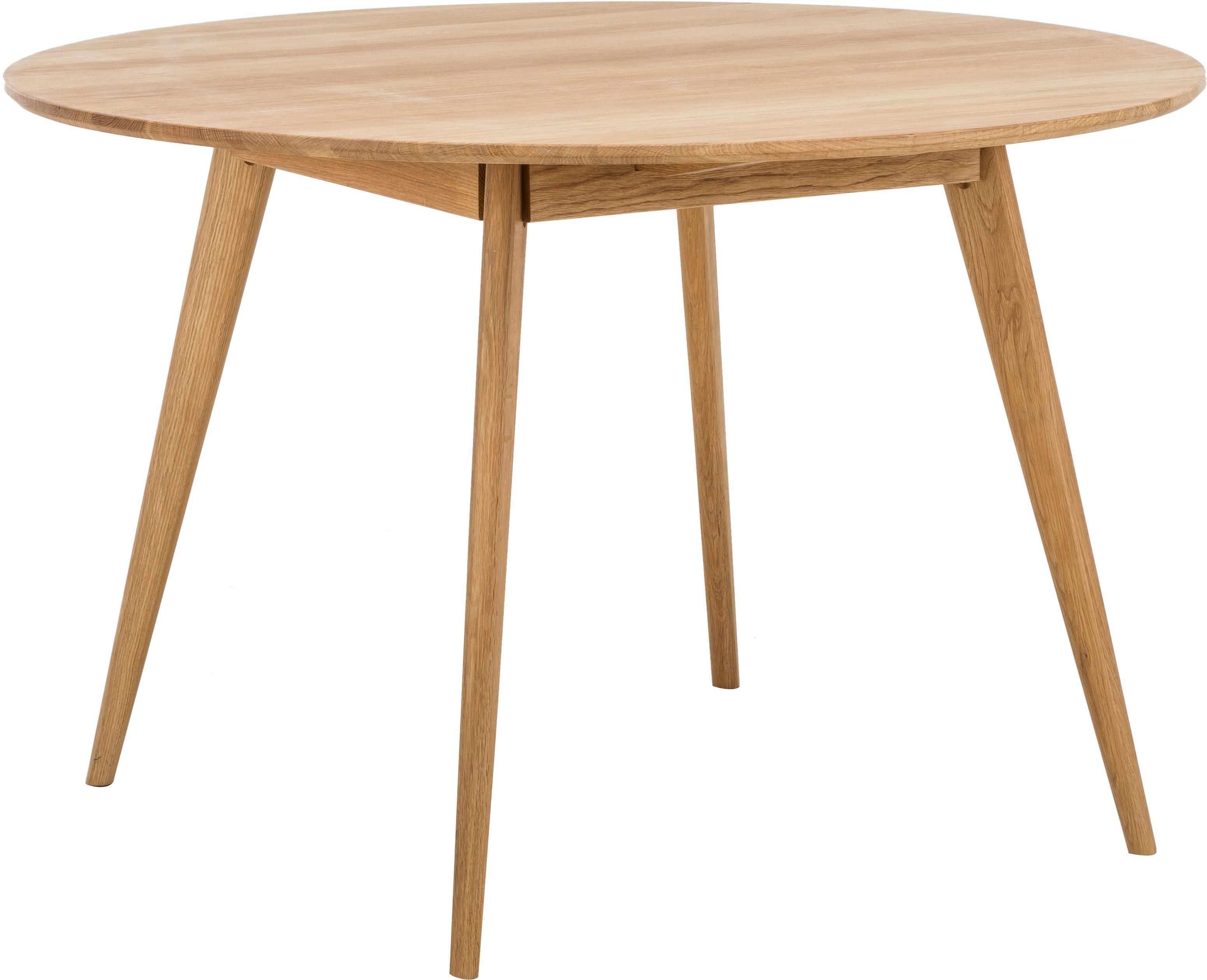 Tavolo rotondo con finitura in quercia Yumi, Piano d'appoggio: pannello di fibra a media, Gambe: legno di quercia massello, Marrone, Ø 115 cm