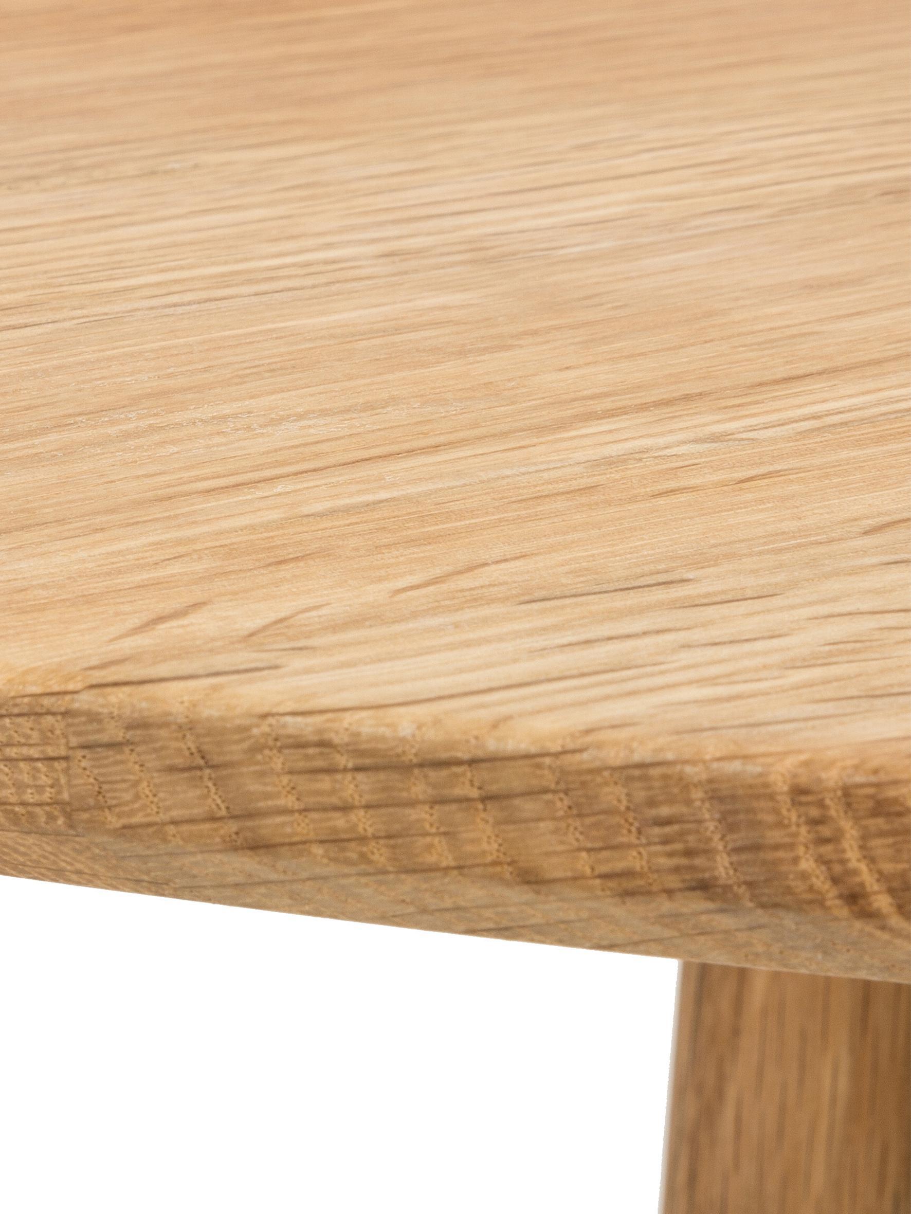 Runder Holz-Esstisch Yumi, Tischplatte: Mitteldichte Holzfaserpla, Beine: Eichenholz, massiv, Eichenholz, Ø 115 x H 74 cm