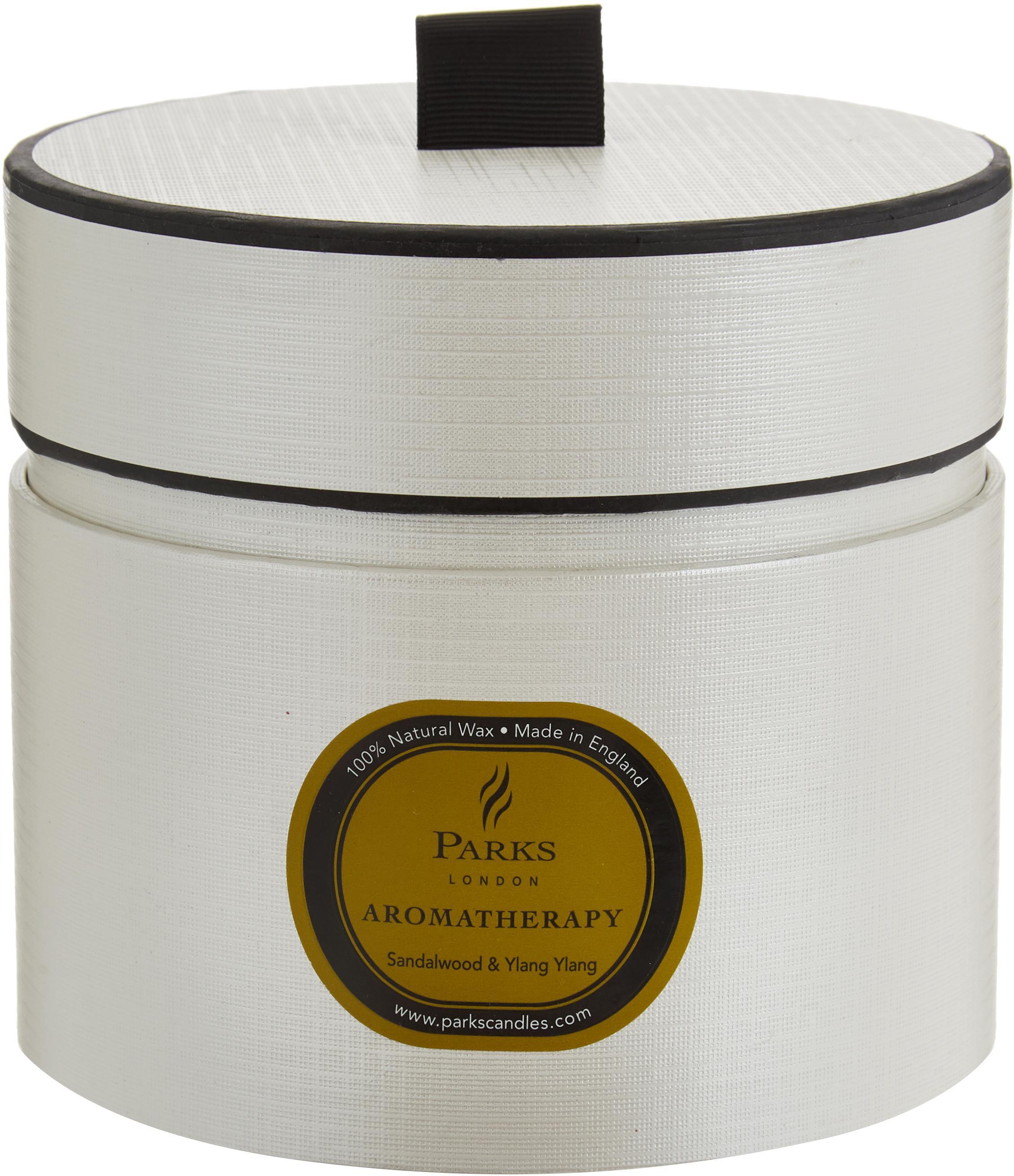Dreidochtduftkerze Aromatherapy (Sandelholz & Ylang Ylang), Behälter: Glas, Weiß, Grün, H 11 x Ø 12 cm