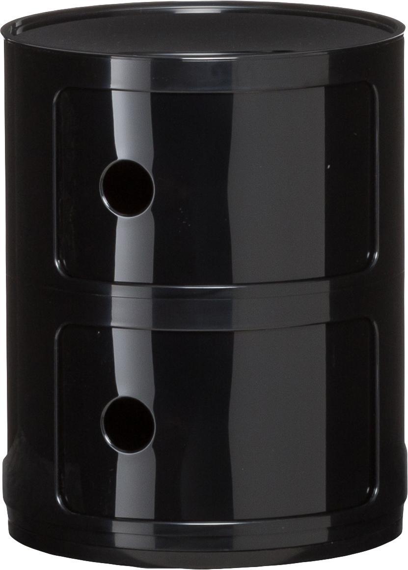 Comodino di design con cassetti Componibile, ABS metallizzato, Nero lucido, Ø 32 x Alt. 40 cm