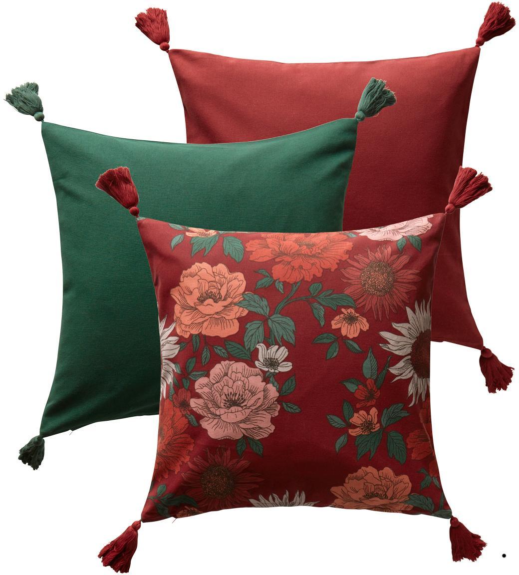 Set di 3 federe arredo Marianne in rosso/verde, Cotone, Rosso, verde, Larg. 50 x Lung. 50 cm