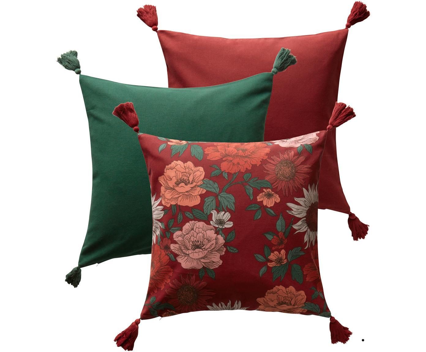 Kissenhüllen Marianne in Rot/Grün, 3er-Set, Baumwolle, Rot, Grün, 50 x 50 cm