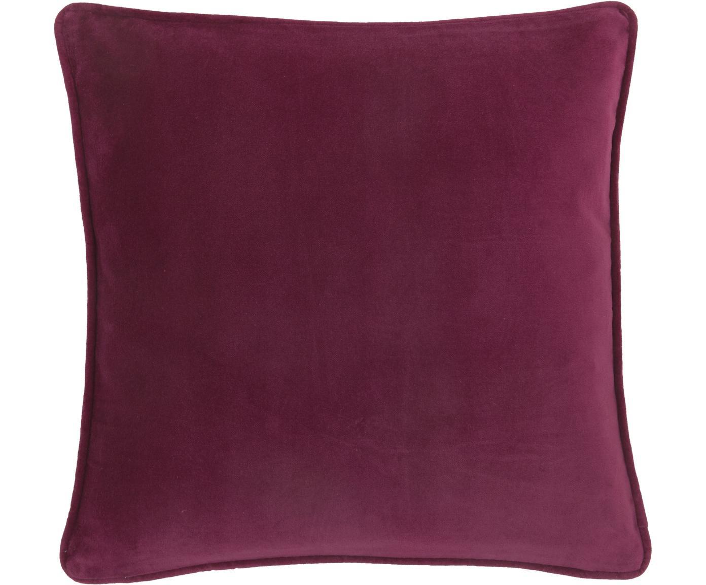 Poszewka na poduszkę z aksamitu Dana, Aksamit bawełniany, Wiśniowy, S 40 x D 40 cm