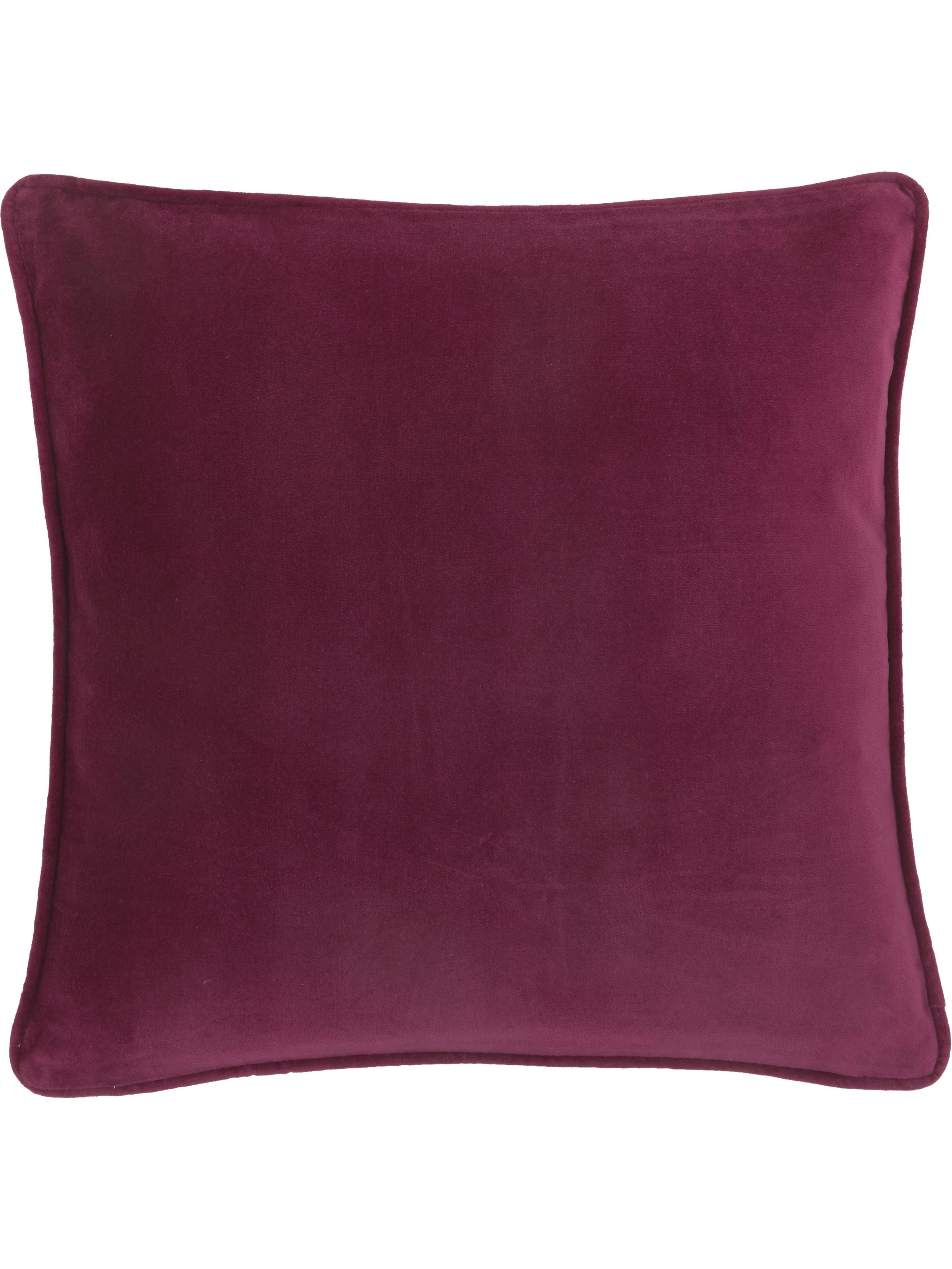Jednobarevný sametový povlak na polštář Dana, Vínově červená