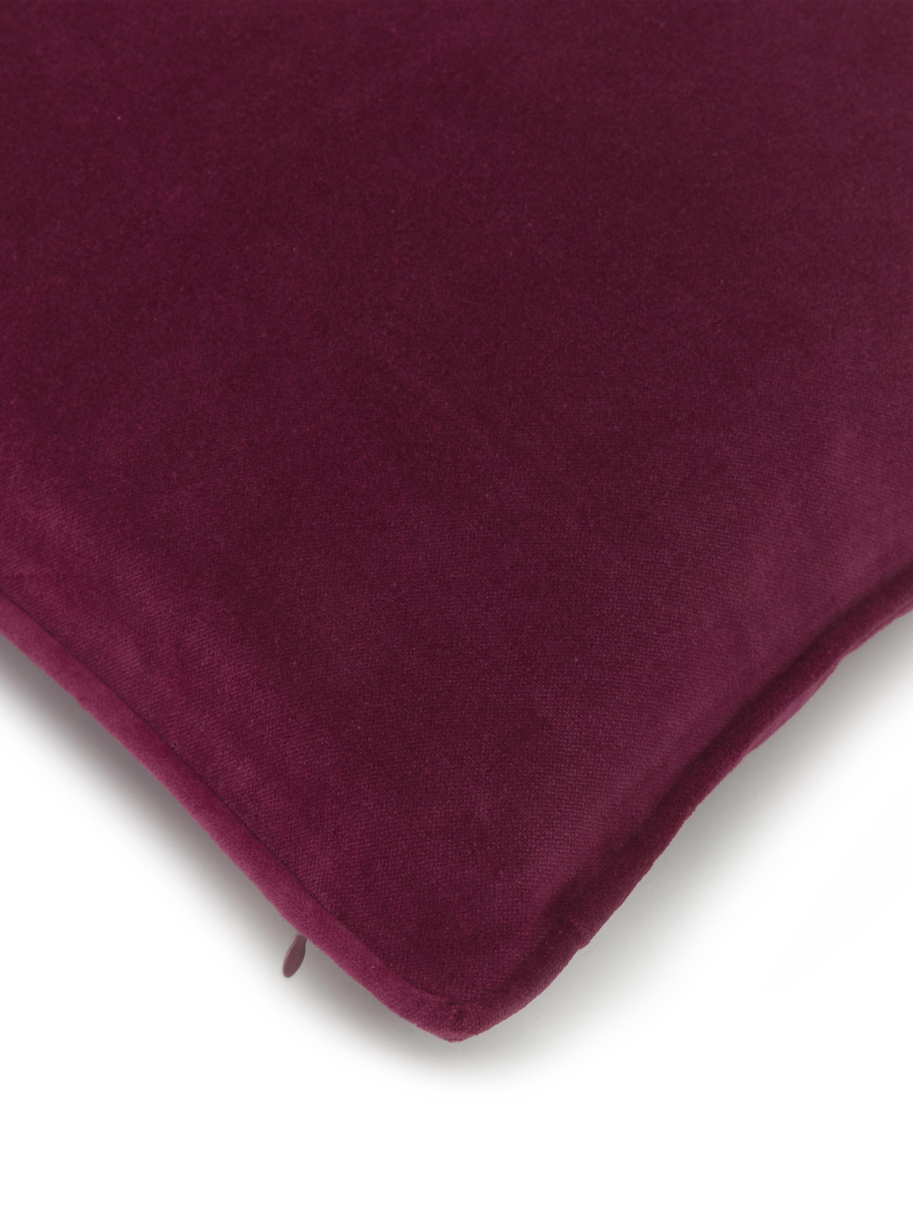 Einfarbige Samt-Kissenhülle Dana in Weinrot, 100% Baumwollsamt, Weinrot, 40 x 40 cm