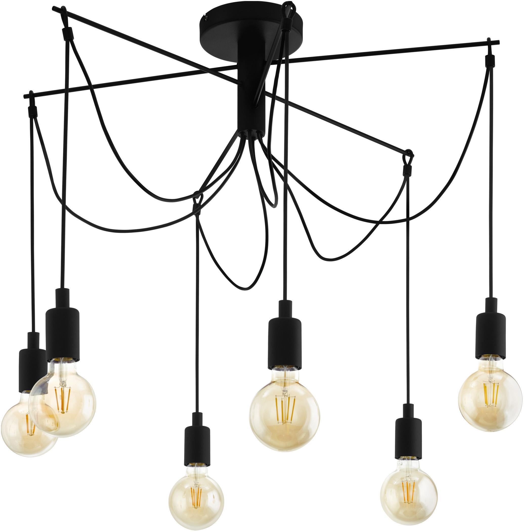 Lampada a sospensione Musara, Struttura: metallo verniciato, Baldacchino: metallo verniciato, Nero, Ø 79 x Alt. 85 cm