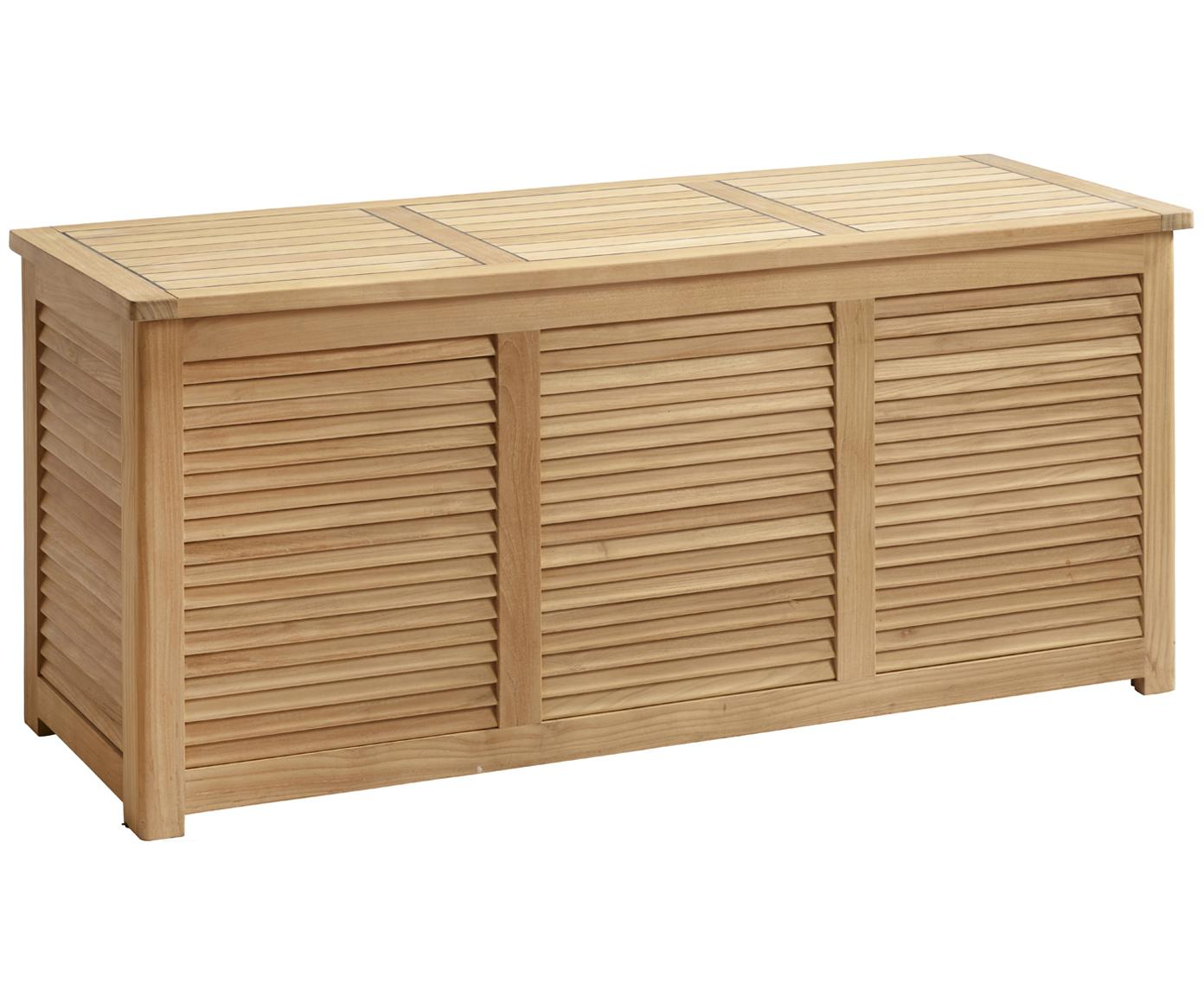 Cassapanca da giardino in legno Storage, Legno di teak, sabbiato Certificato V-legal, Teak, Larg. 130 x Alt. 60 cm