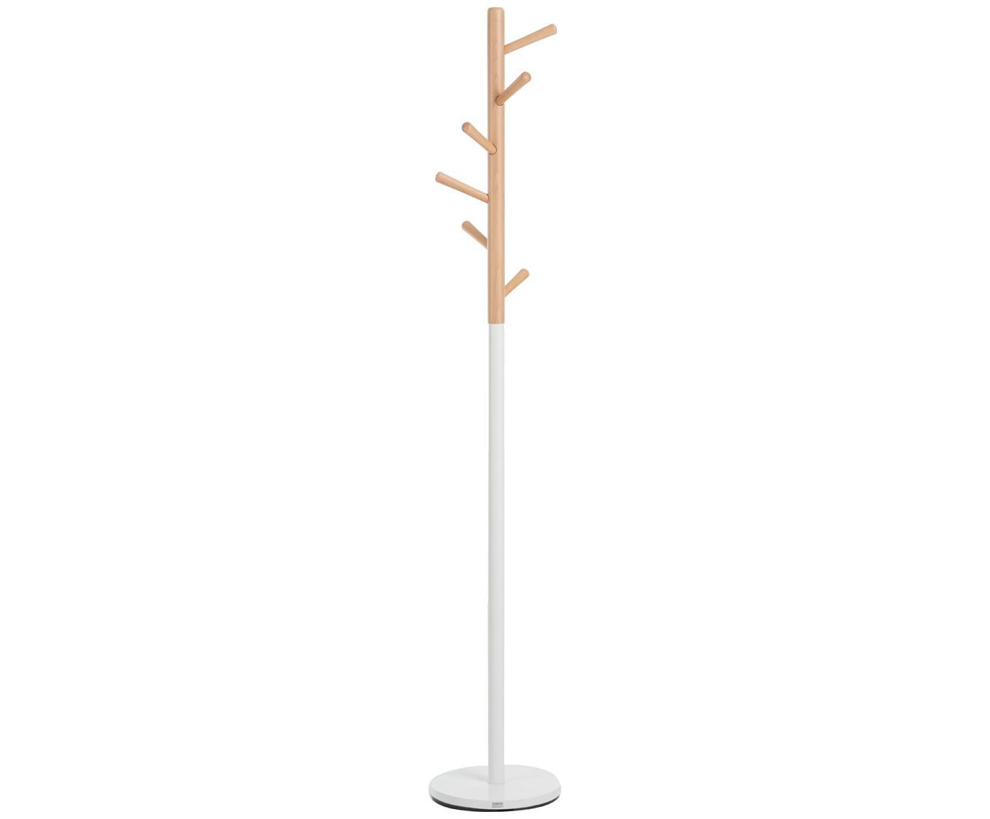 Perchero de pie Kent, 6ganchos, Estructura: madera de haya, pintada, Blanco, haya, Ø 32 x Al 182 cm