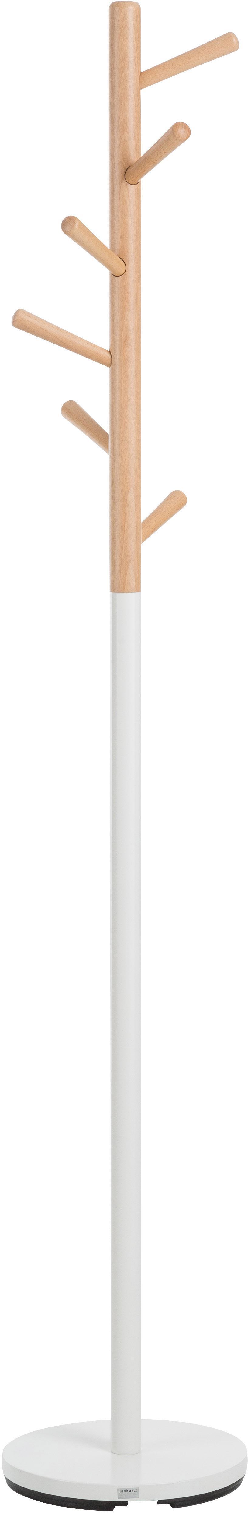 Wieszak stojący Kent, Biały, drewno bukowe, Ø 32 x W 182 cm