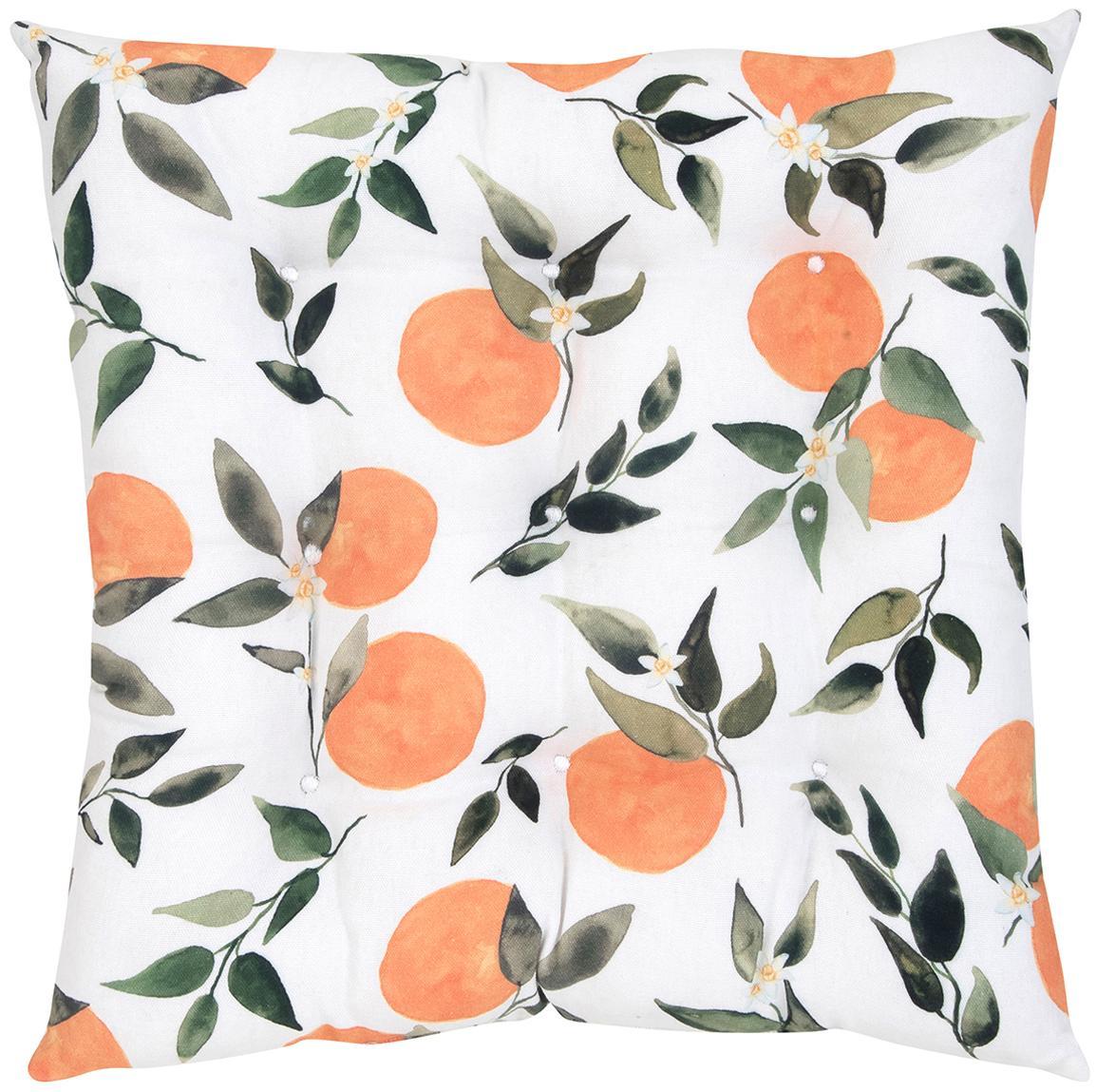 Poduszka na siedzisko Larangina, Tapicerka: bawełna, Biały, zielony, pomarańczowy, S 40 x D 40 cm