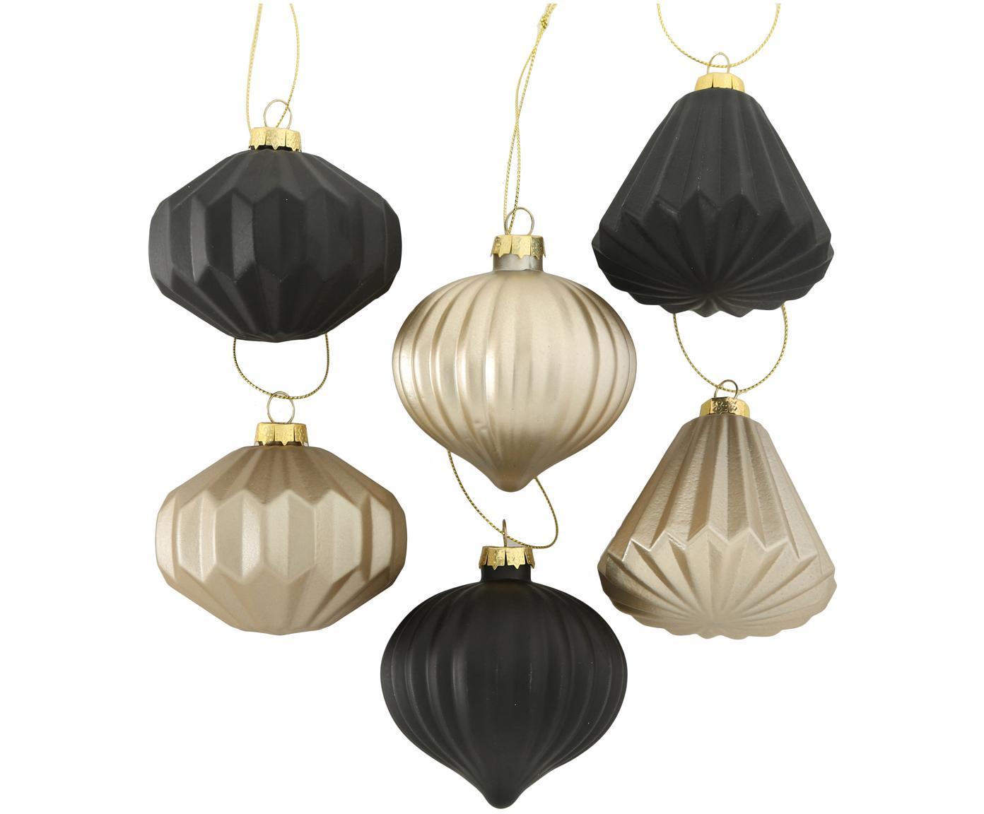 Komplet ozdób choinkowych Origami, 6elem., Czarny, odcienie szampańskiego, Ø 8 x W 8 cm