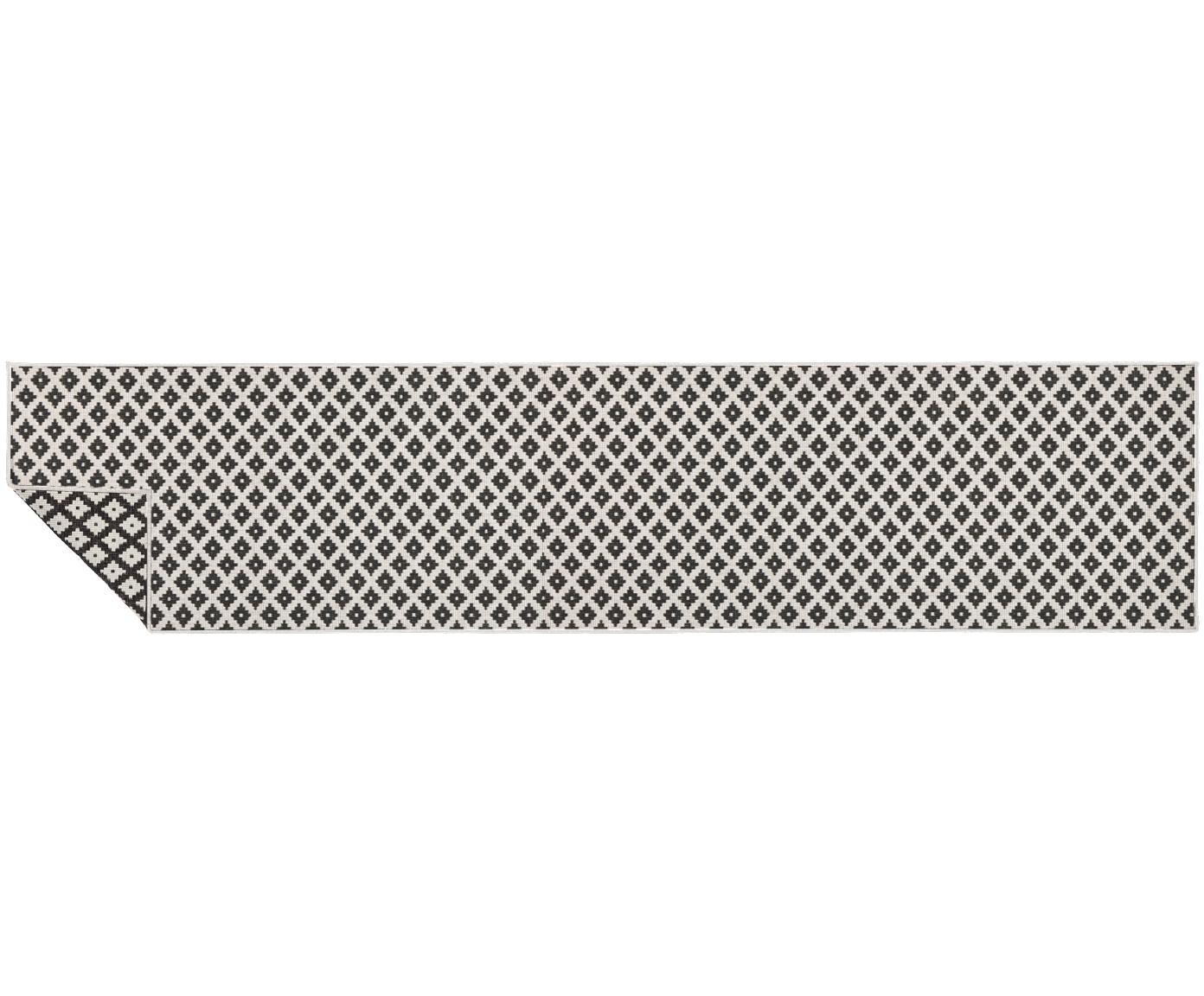 Dubbelzijdige in- & outdoor loper Nizza, Zwart, crèmekleurig, 80 x 350 cm