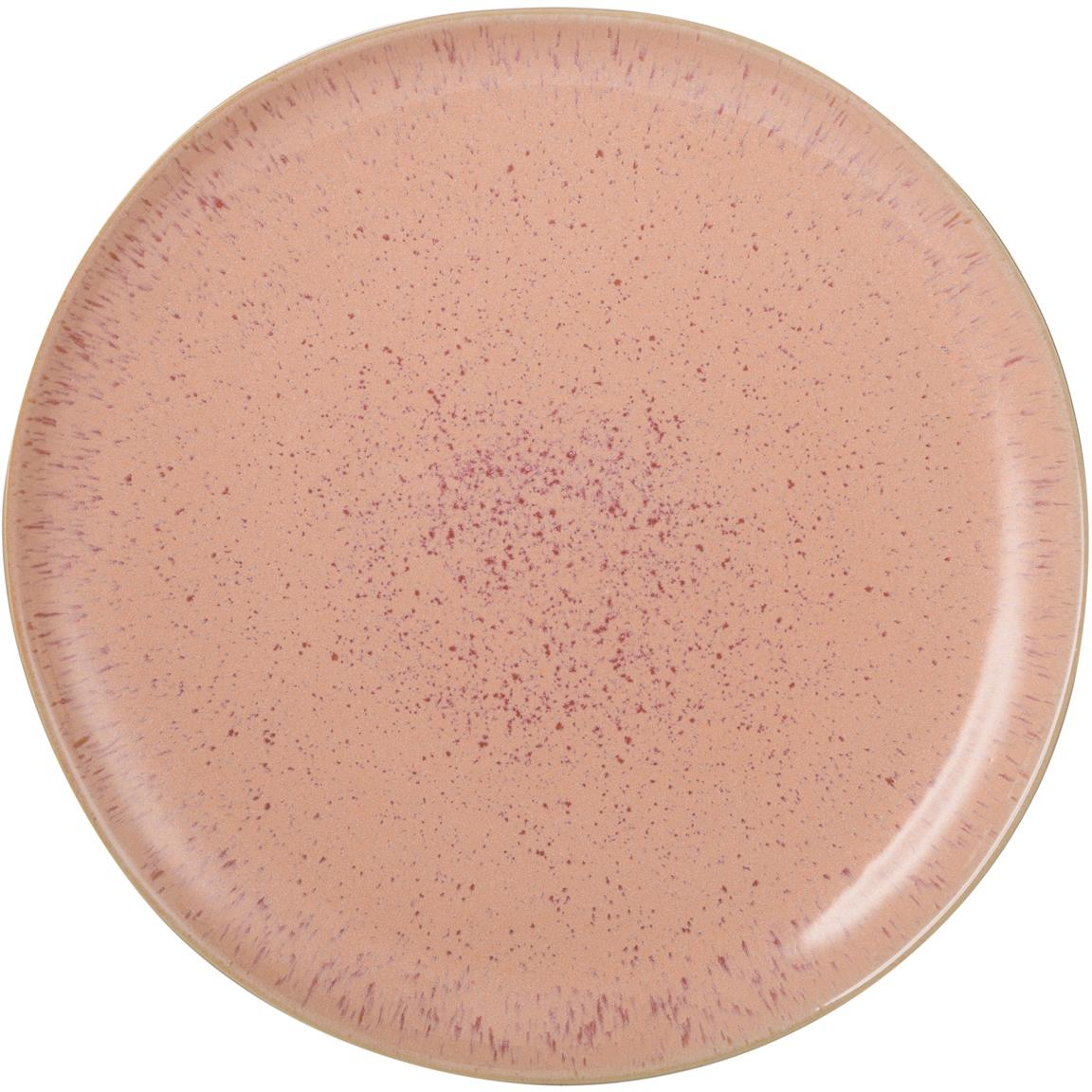 Plato llano artesanal Areia, Gres, Tonos rojos, blanco crudo, beige claro, Ø 28 cm