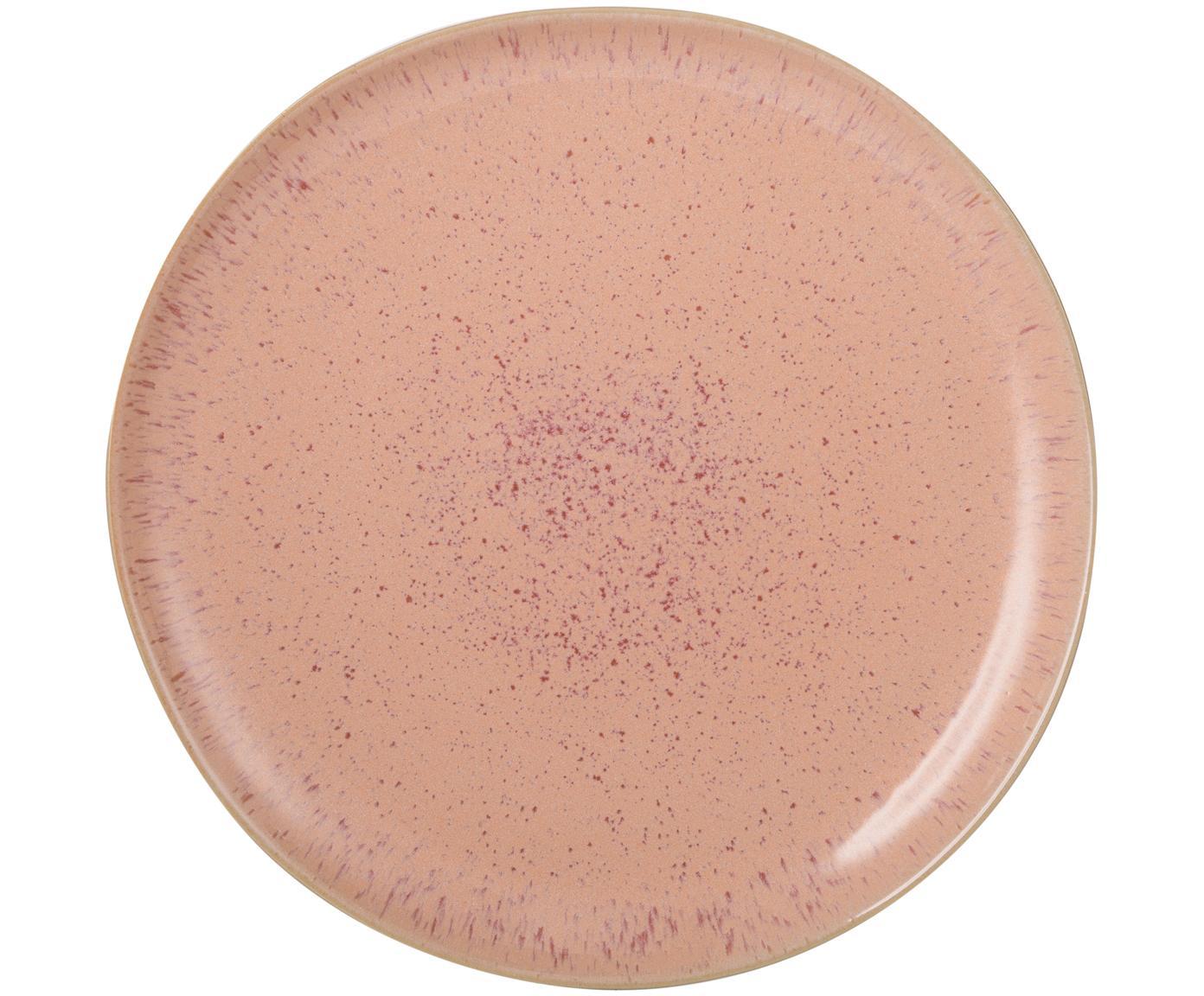 Piatto piano dipinto a mano Areia, Gres, Tonalità rosse, bianco latteo, beige chiaro, Ø 28 cm