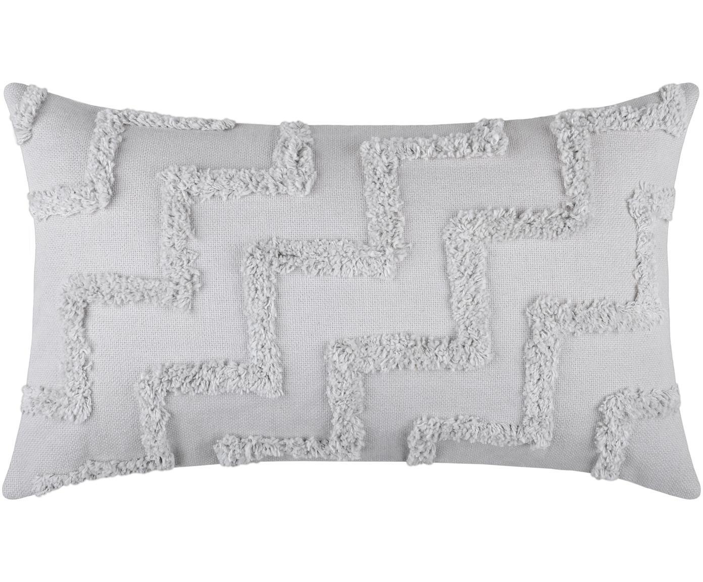 Boho Kissen Tiksi mit getufteten Verzierungen, mit Inlett, Bezug: Baumwolle, Grau, 30 x 50 cm