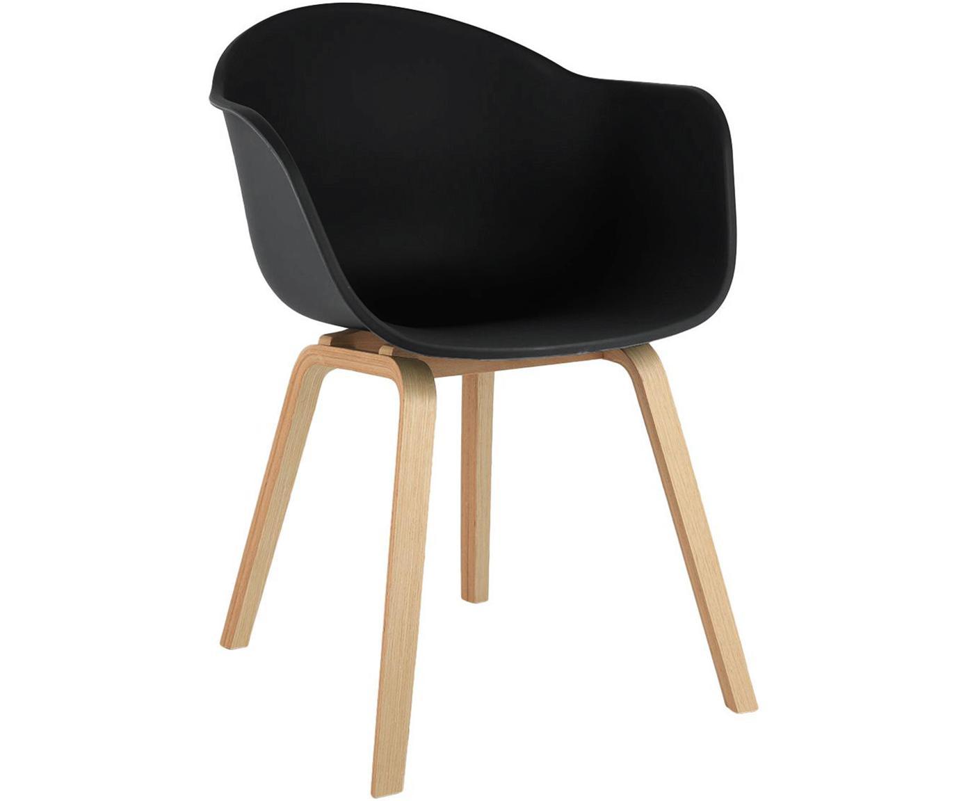 Sedia con braccioli e gambe in legno Claire, Seduta: materiale sintetico, Gambe: legno di faggio, Materiale sintetico nero, Larg. 54 x Prof. 60 cm