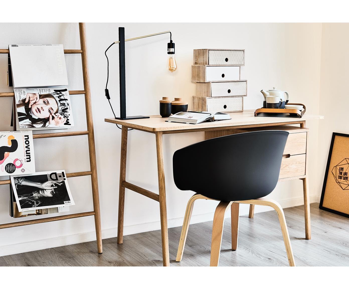 Kunststoff-Armlehnstuhl Claire mit Holzbeinen, Sitzschale: Kunststoff, Beine: Buchenholz, Kunststoff Schwarz, B 54 x T 60 cm