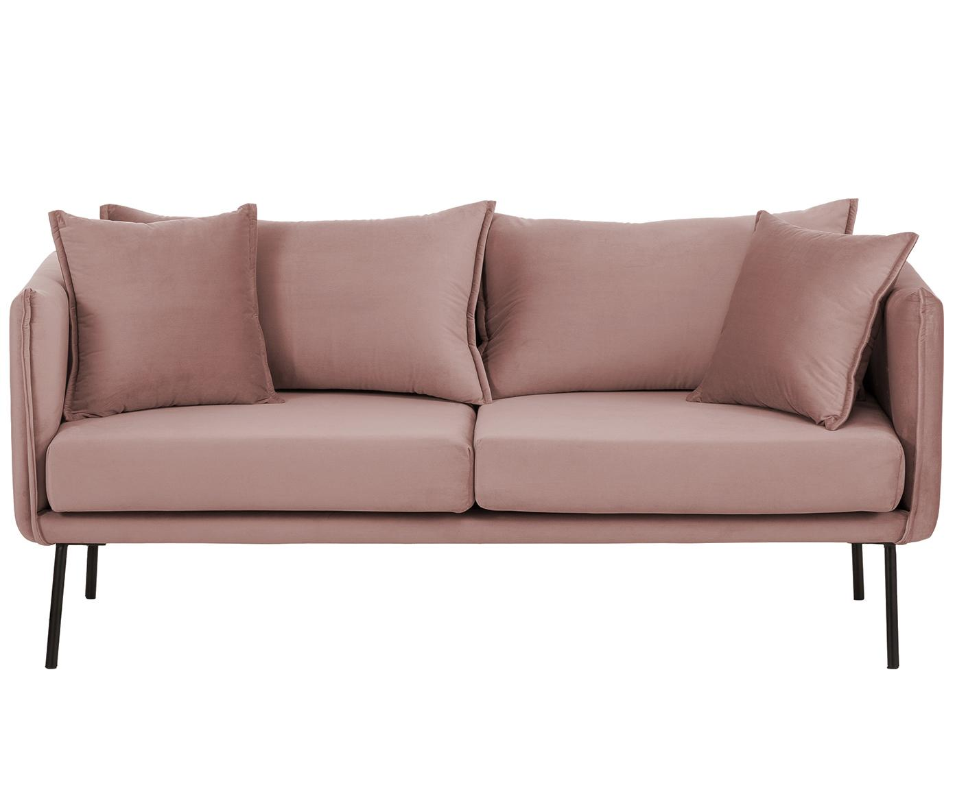 Samt-Sofa Ivy (2-Sitzer), Bezug: Samt (Polyester) 15.000 S, Gestell: Metall, Füße: Metall, pulverbeschichtet, Bezug: Rosa Füße: Schwarz, B 170 x T 75 cm