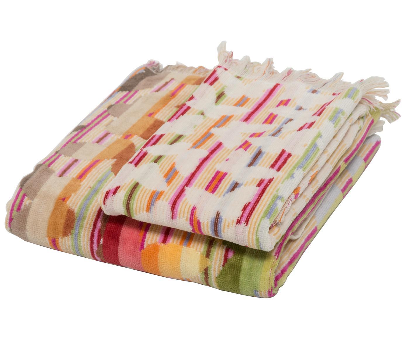 Komplet ręczników Josephine, 2 elem., Czerwony, wielobarwny, Różne rozmiary
