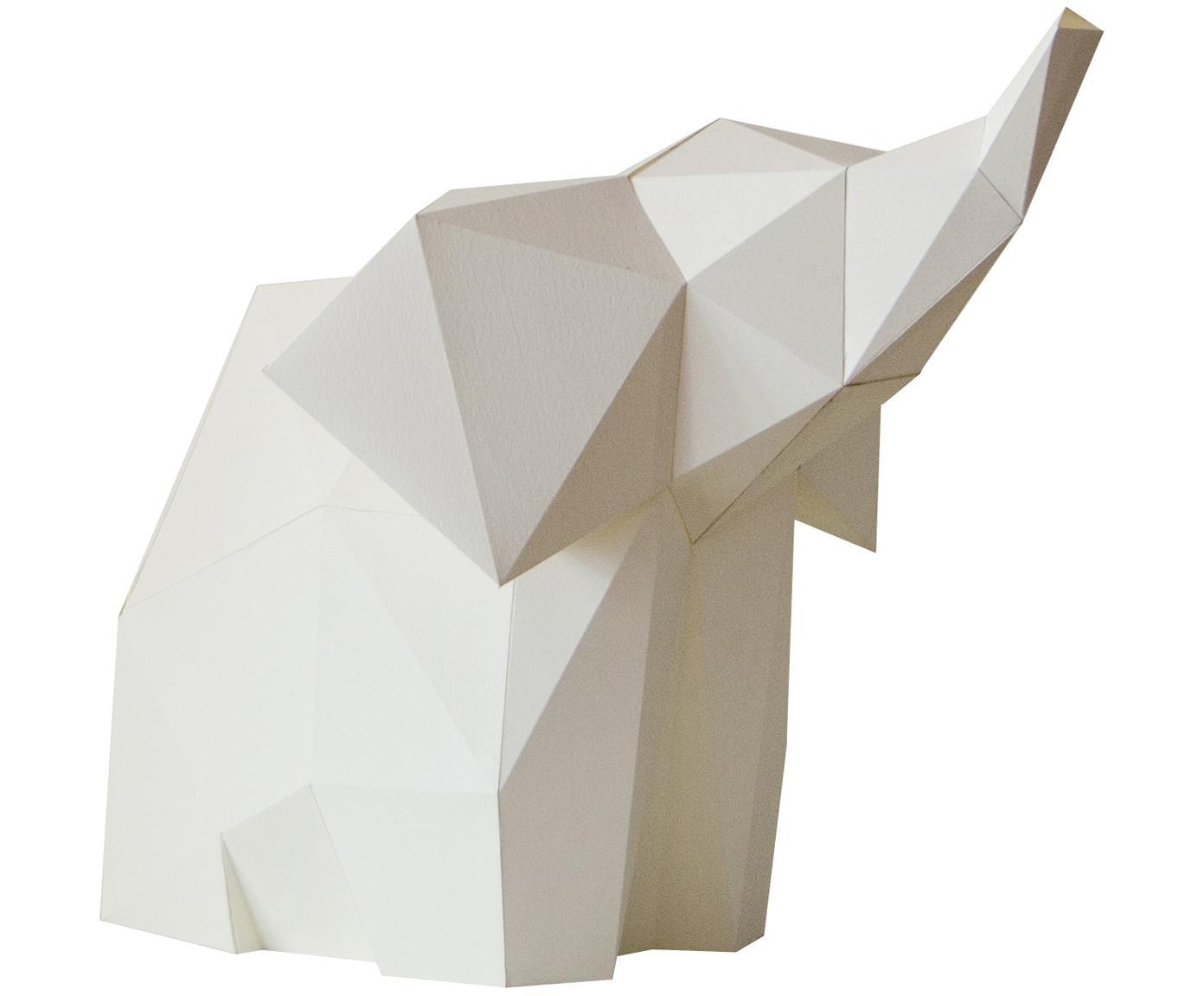 Tafellamp Baby Elephant, bouwpakket van papier, Lampenkap: papier, 160 g/m², Voetstuk: MDF, kunststof, Wit, 23 x 24 cm