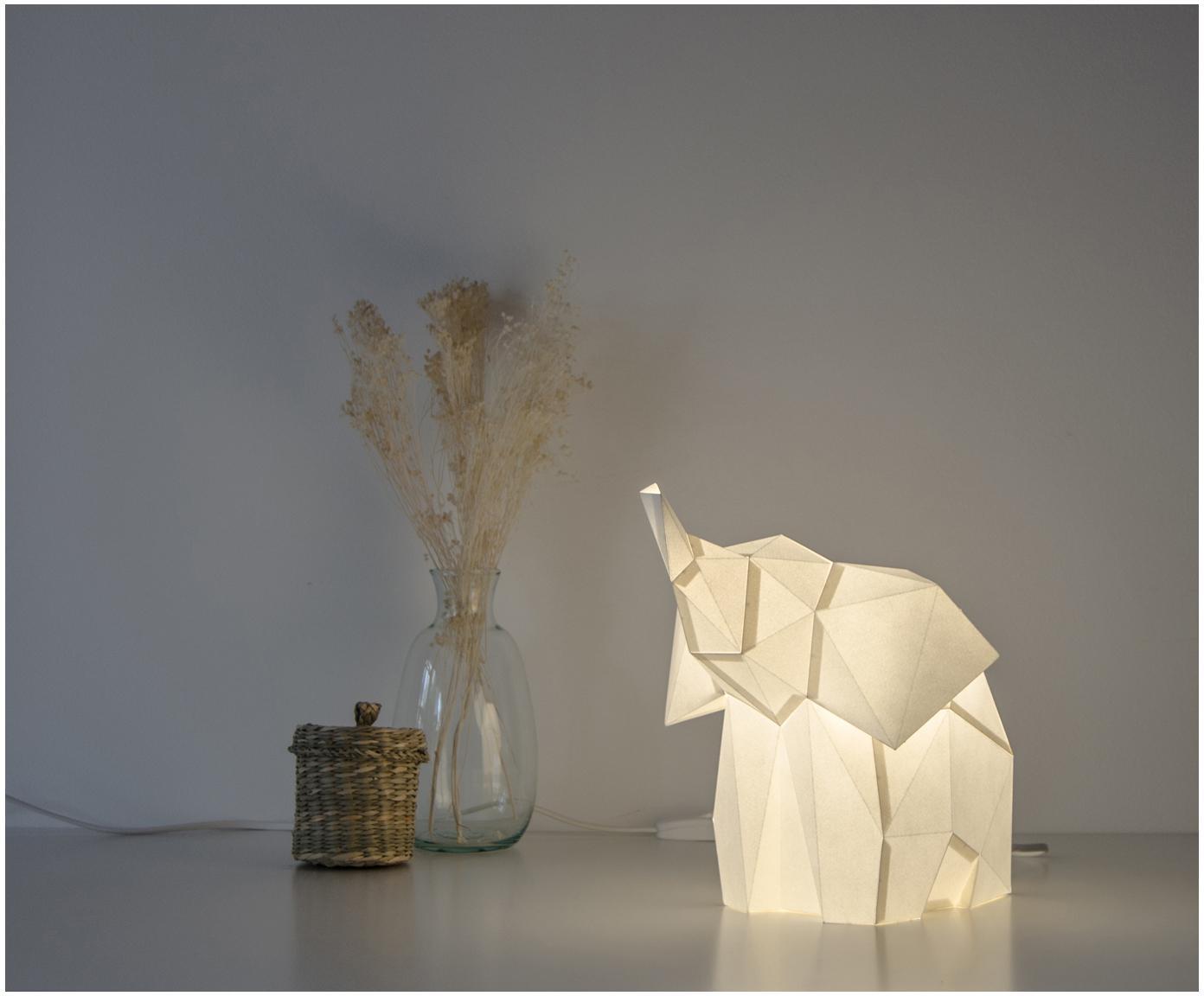 Lampa stołowa z papieru do montażu Baby Elephant, Biały, S 23 x W 24 cm