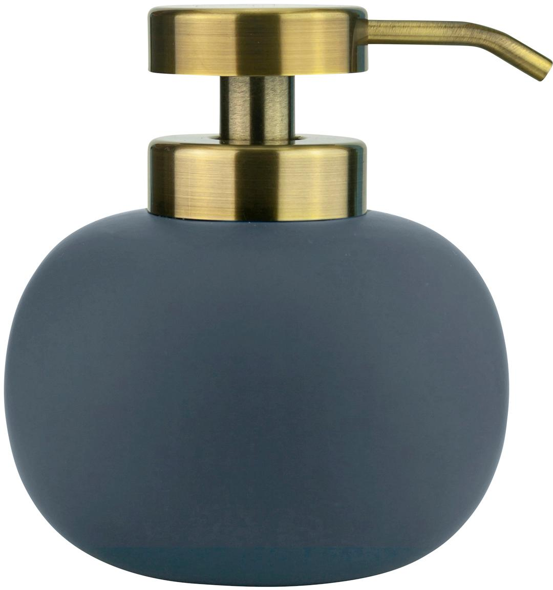 Keramik-Seifenspender Lotus, Behälter: Keramik, Pumpkopf: Metall, beschichtet, Blau, Messingfarben, Ø 11 x H 13 cm
