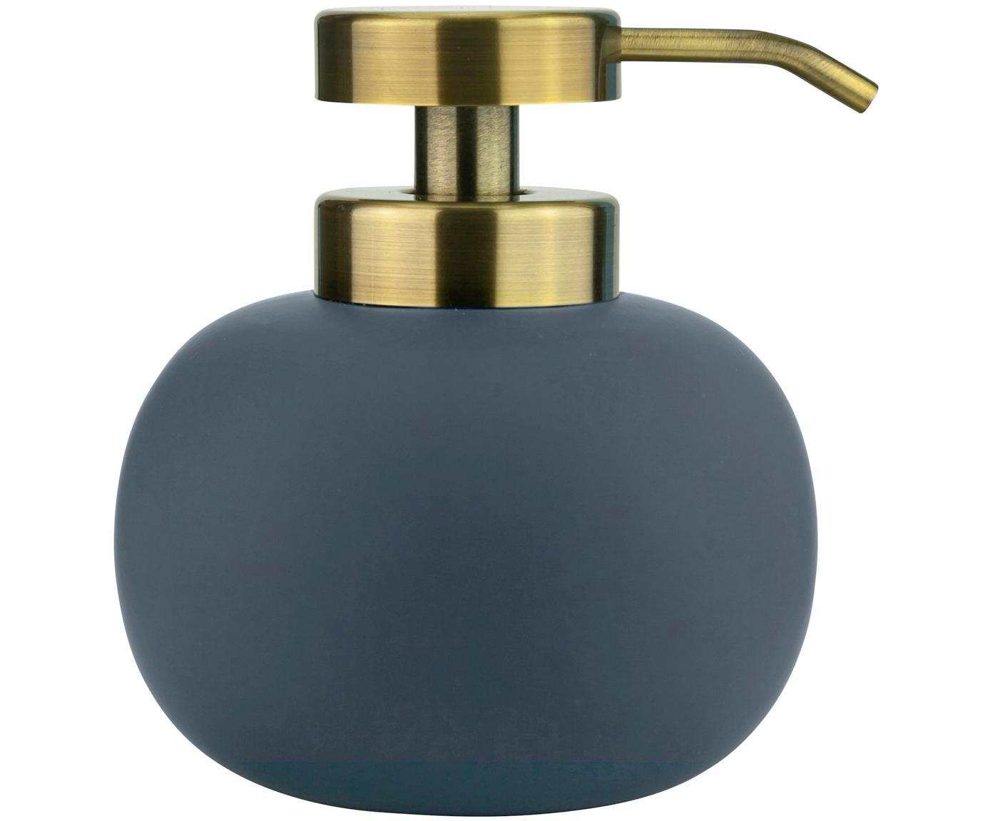 Dosatore di sapone Lotus, Contenitore: ceramica, Testa della pompa: metallo, rivestito, Blu, ottone, Ø 11 x A 13 cm