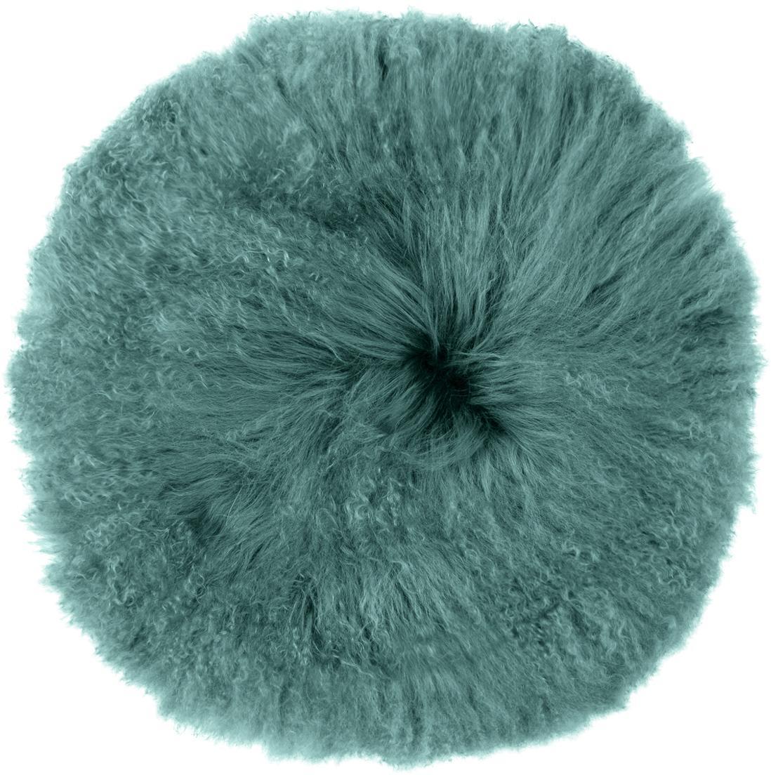 Federa arredo sedia in pelliccia di agnello a pelo lungo Ella, Retro: 100% poliestere, Turchese scuro, Ø 37 cm