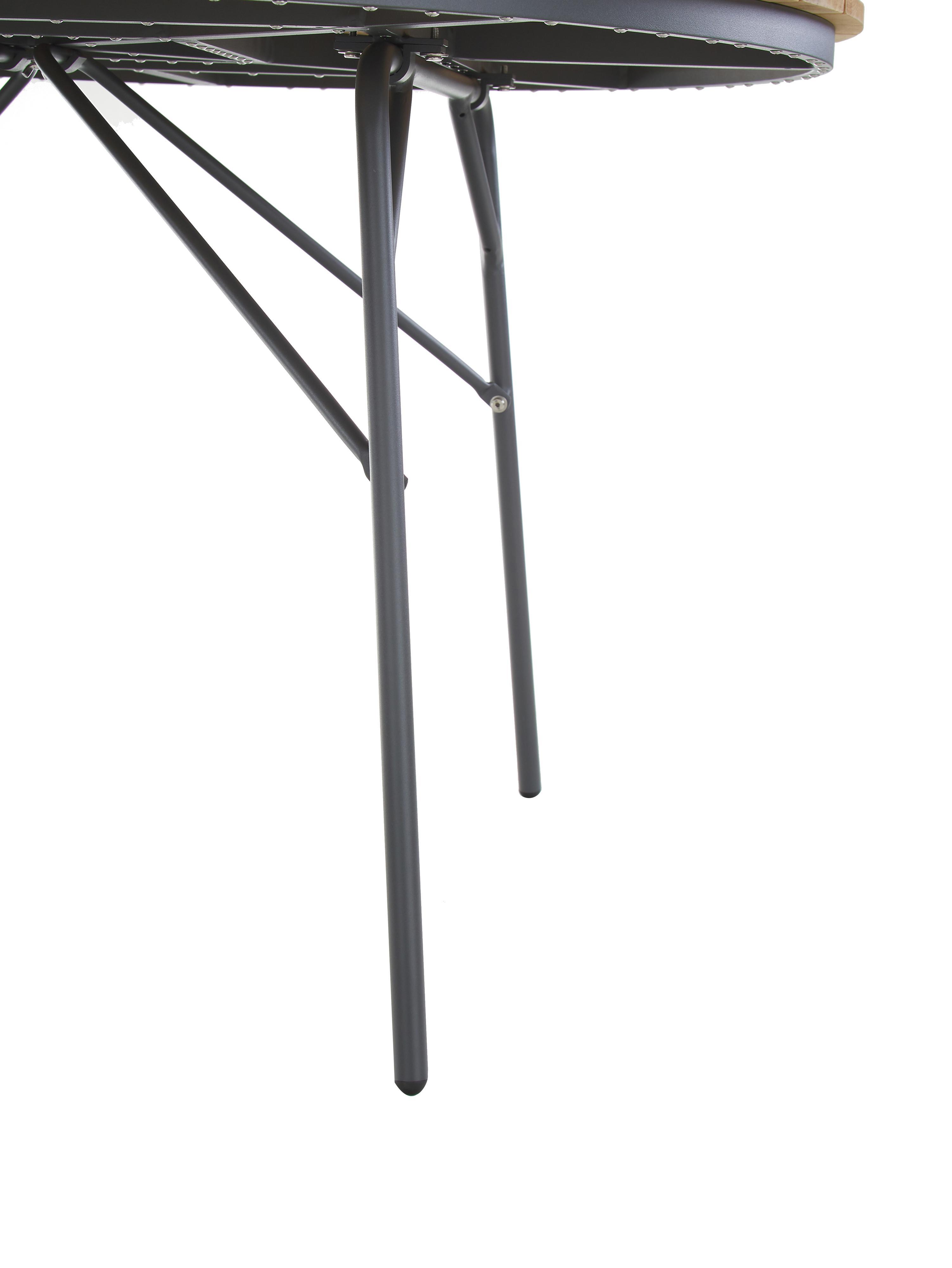 Ronde tuintafel Hard & Ellen van hout, Tafelblad: gepolijst teakhout, Frame: gepoedercoat aluminium, Antraciet, teakhoutkleurig, Ø 130 x H 73 cm