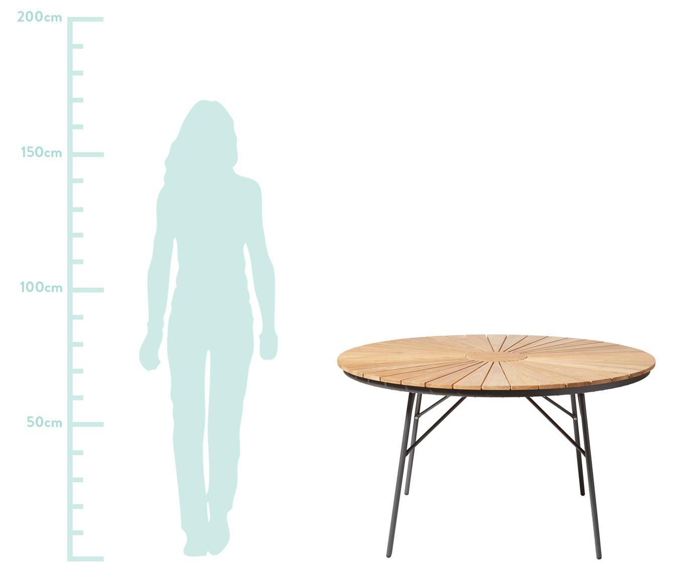 Runder Gartentisch Hard & Ellen aus Holz, Tischplatte: Teakholz, geschliffen, Anthrazit, Teak, Ø 130 x H 73 cm