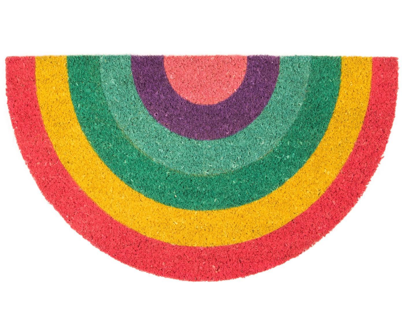 Fußmatte Rainbow, Oberseite: Kokosfaser, Unterseite: PVC, Mehrfarbig, 40 x 70 cm