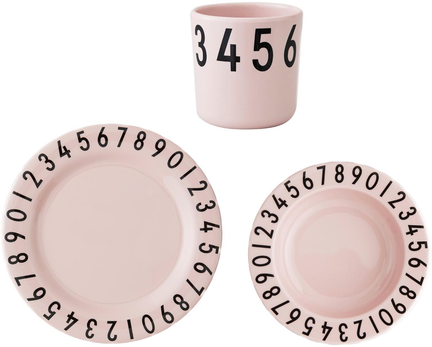 Set da colazione Numbers, 3 pz., Melamina, Rosa, nero, Larg. 21 x Alt. 7 cm
