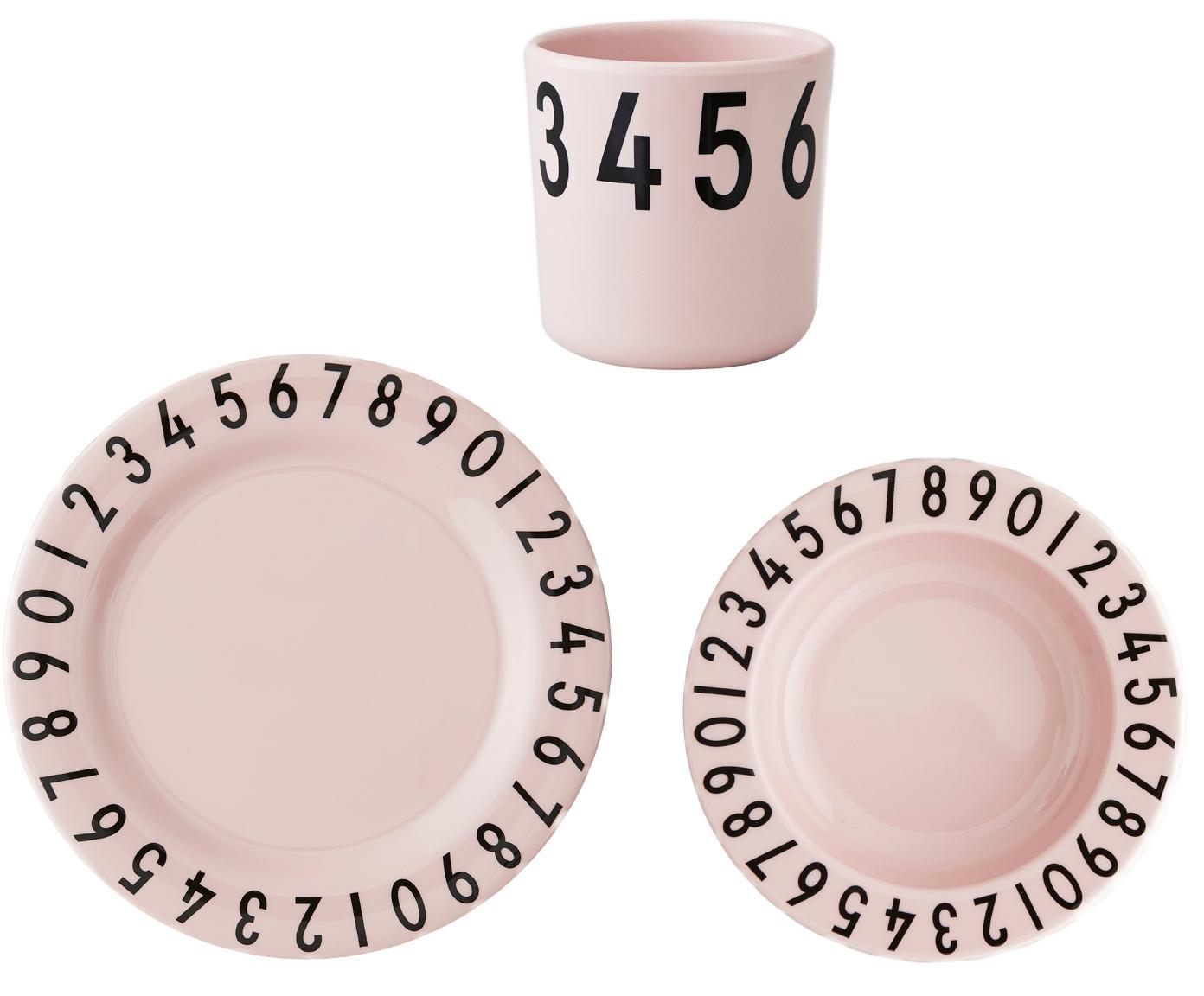 Frühstück-Set Numbers, 3-tlg., Melamin, Rosa, Schwarz, 22 x 7 cm