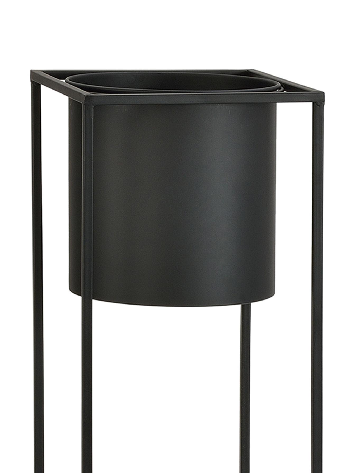 Portavaso in metallo Bragi, Metallo verniciato, Nero, Larg. 26 x Alt. 100 cm