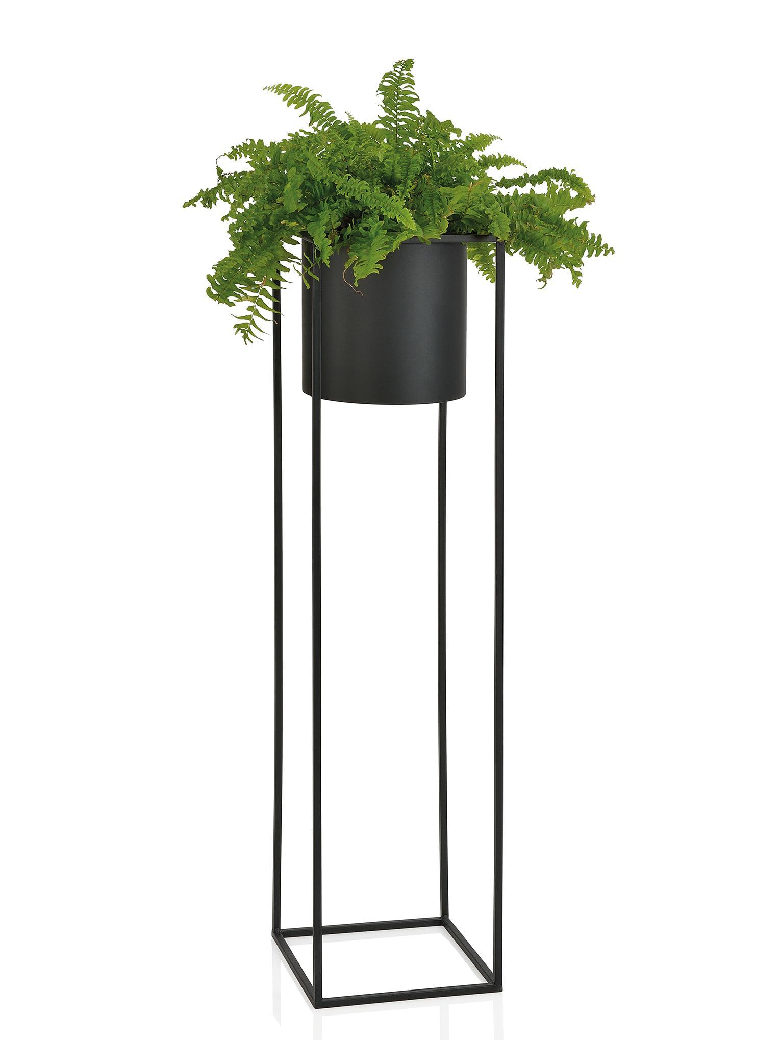 Grote plantenpot Bragi van metaal, Gelakt metaal, Zwart, 26 x 100 cm