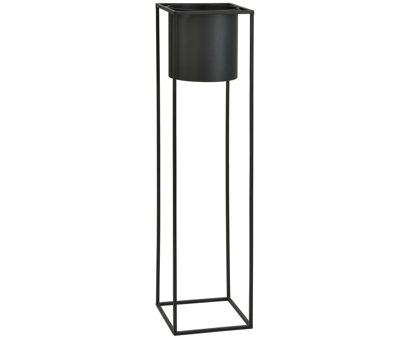 Portavaso Bragi, Metallo verniciato, Nero, Larg. 26 x Alt. 100 cm