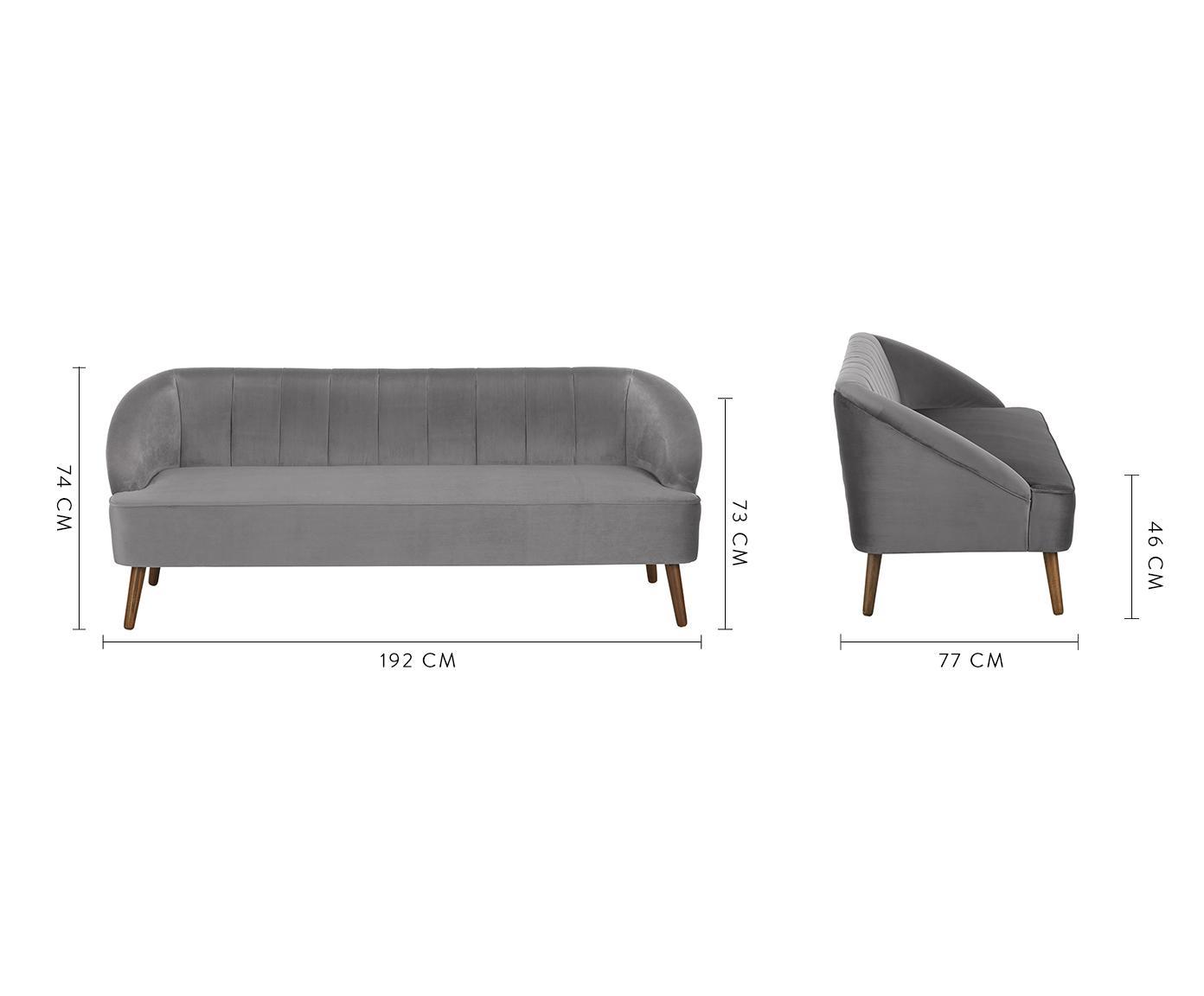 Samt-Sofa Cora (3-Sitzer), Bezug: Samt (Polyester) 28.000 S, Gestell: Kiefernholz, Füße: Kautschukholz, Samt Hellgrau, 192 x 74 cm