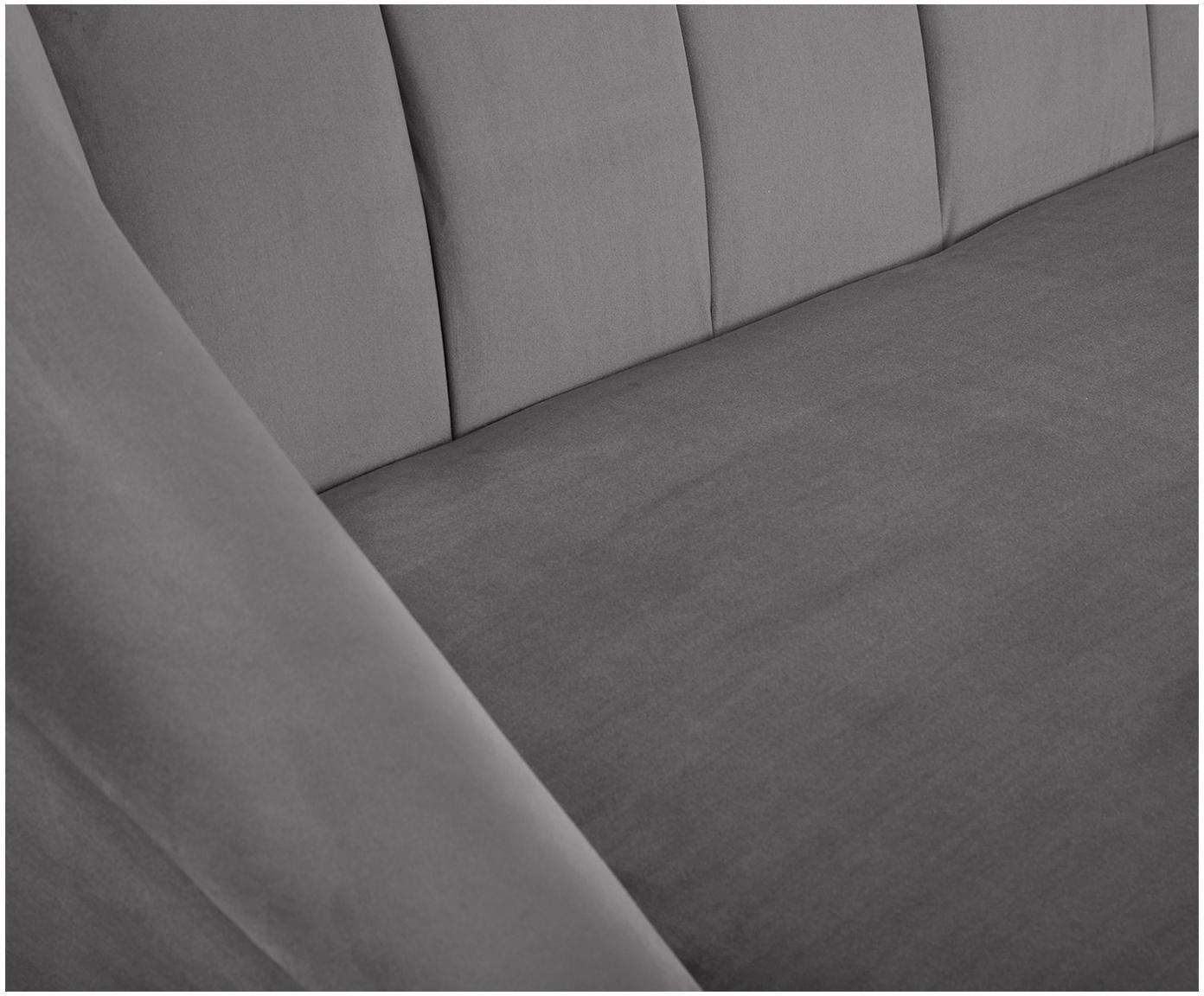 Fluwelen bank Cora (3-zits), Bekleding: fluweel (polyester), Frame: grenenhout, Poten: rubberhout, Bekleding: lichtgrijs. Poten: donker gelakt rubberhout, 192 x 74 cm