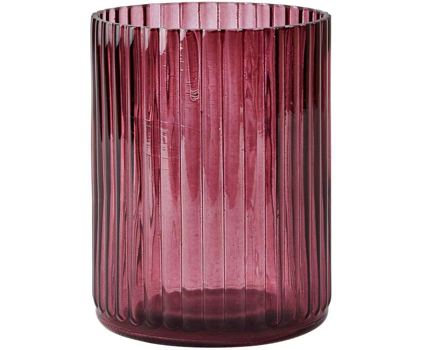 Kleine glazen vaas Rubio, Glas, Bordeauxrood, transparent, Ø 11 x H 15 cm