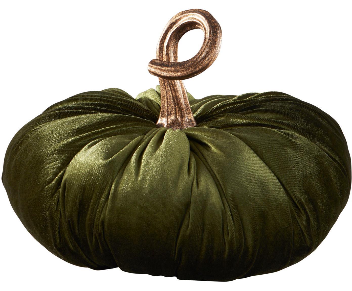 Zucca decorativa in velluto Pumpis, 15% poliresina, 35% acrilico, 25% poliestere, 25% riempimento con sabbia di quarzo, Verde scuro, Ø 24 x Alt. 22 cm
