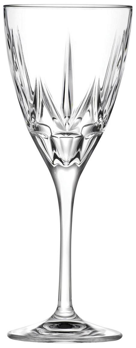 Kristall-Weissweingläser Chic mit Relief, 6er-Set, Kristallglas, Transparent, Ø 8 x H 21 cm