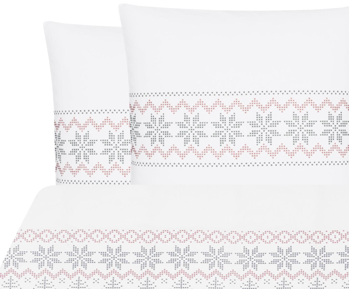 Flanell-Bettwäsche Finja mit Muster, Webart: Flanell Flanell ist ein s, Weiß, Altrosa, Grau, 200 x 200 cm + 2 Kissen 80 x 80 cm