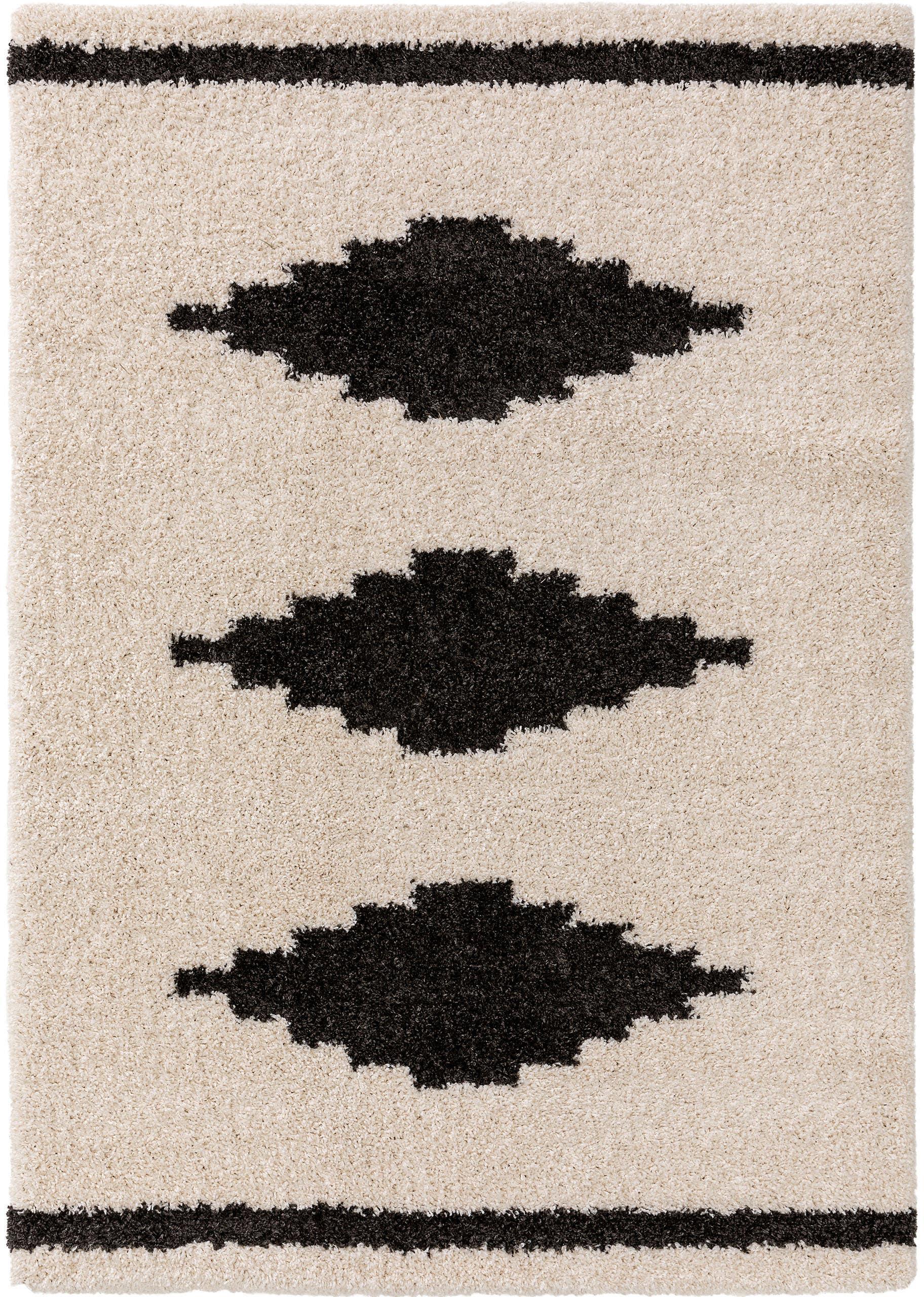 Hoogpolig vloerkleed Selma met grafisch patroon, 100% polypropyleen, Lichtbeige, zwart, B 120 x L 170 cm (maat S)