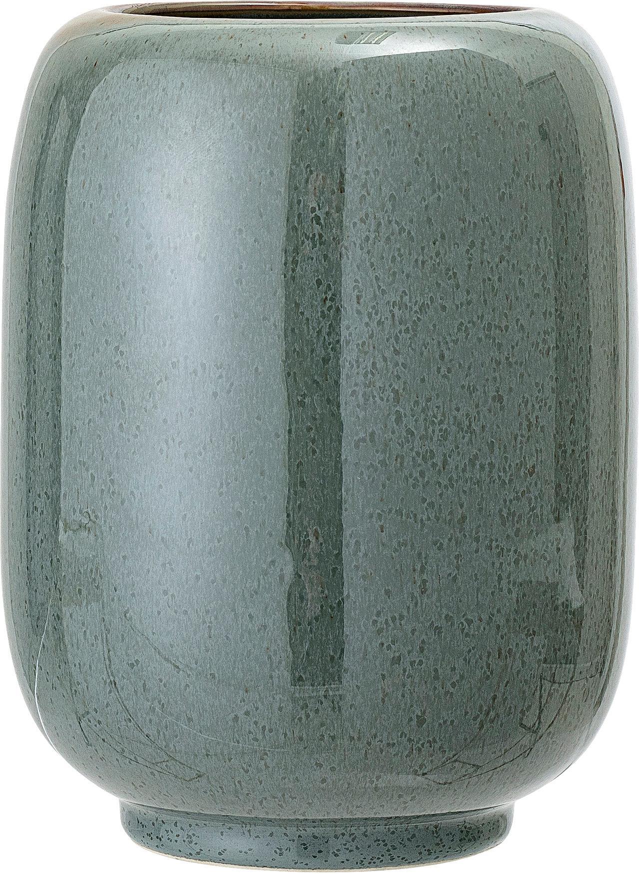 Jarrón Verena, Cerámica, Verde, marrón, Ø 14 x Al 18 cm