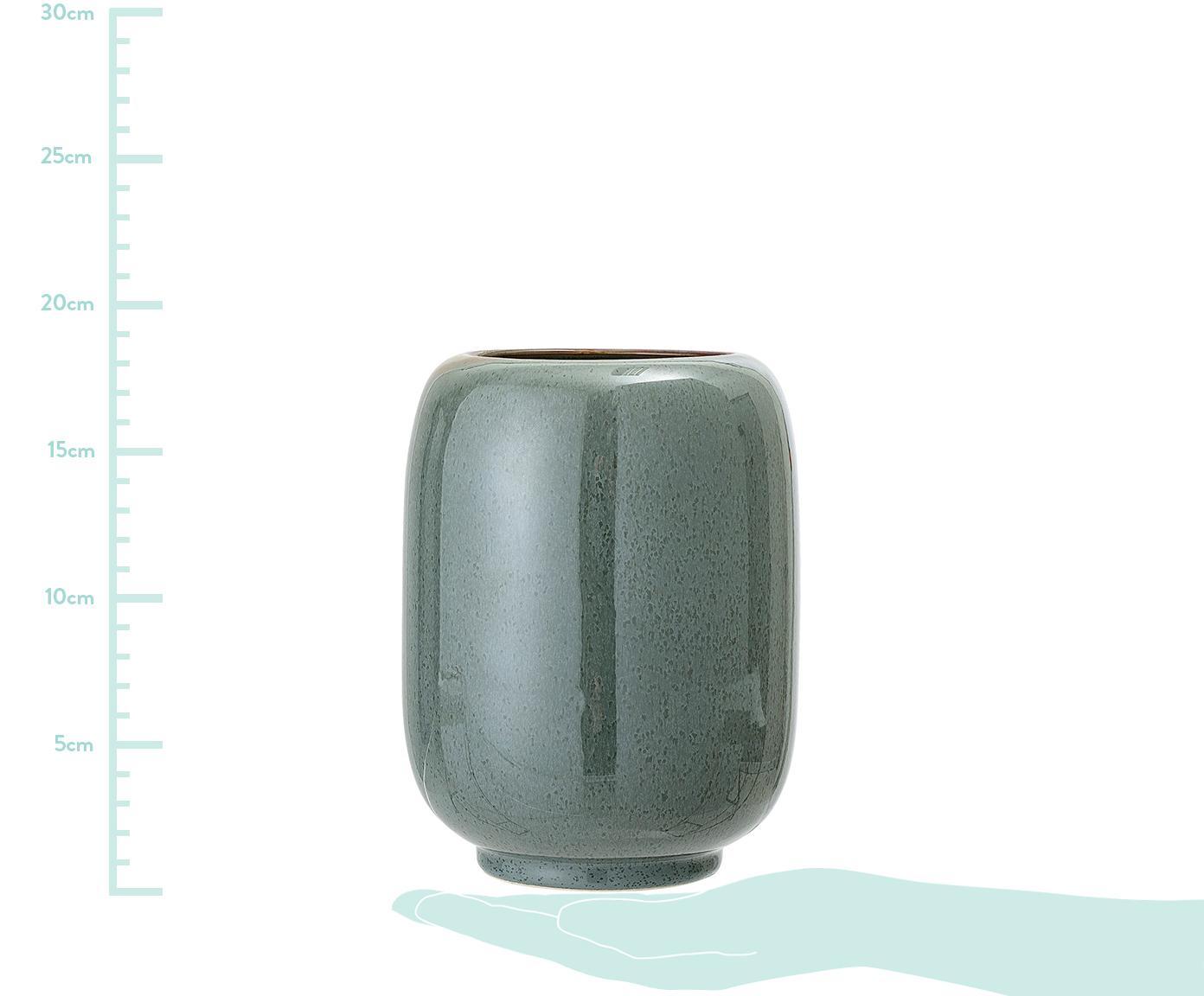 Keramische vaas Verena, Keramiek, Groen, bruin, Ø 14 x H 18 cm