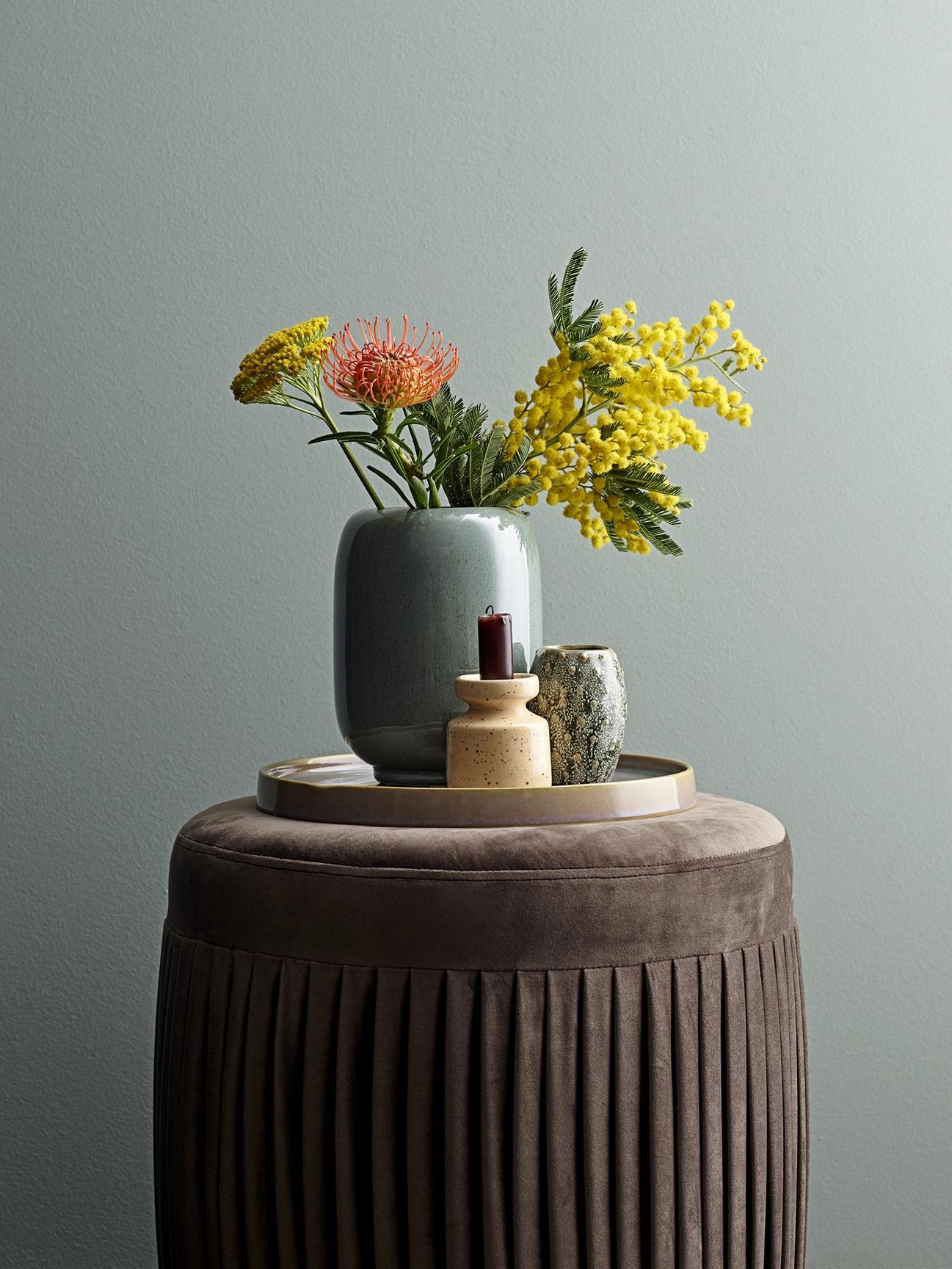 Keramik-Vase Verena, Keramik, Grün, Braun, Ø 14 x H 18 cm