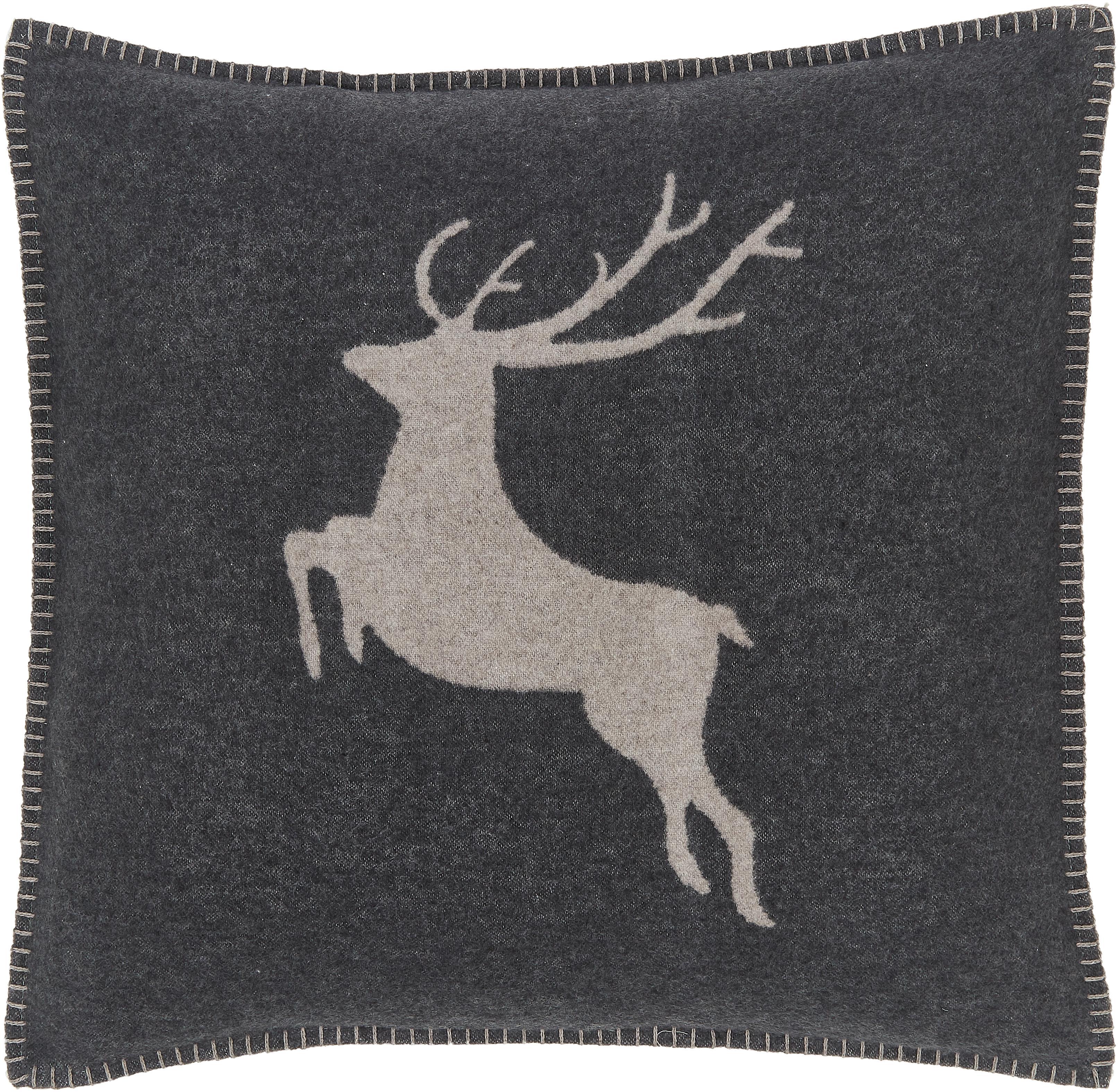 Fleece kussenhoes met hert in grijs., 85% katoen, 8% viscose, 7% polyacryl, Antraciet, beige, 50 x 50 cm