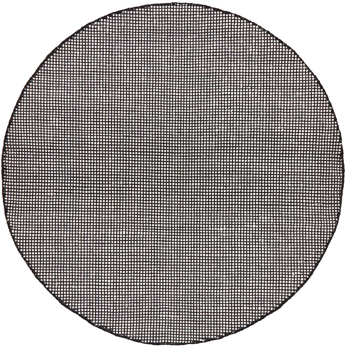 Alfombra redonda de lana tejida a mano Amaro, 38%lana, 22%poliéster, 20%algodón, 20%poliamida, Negro, blanco crema, Ø 140 cm