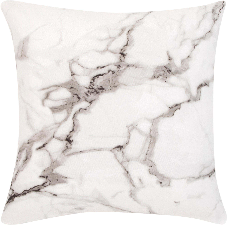Federa arredo effetto marmo Malin, Tessuto: percalle, Modello in marmo, bianco, Larg. 45 x Lung. 45 cm